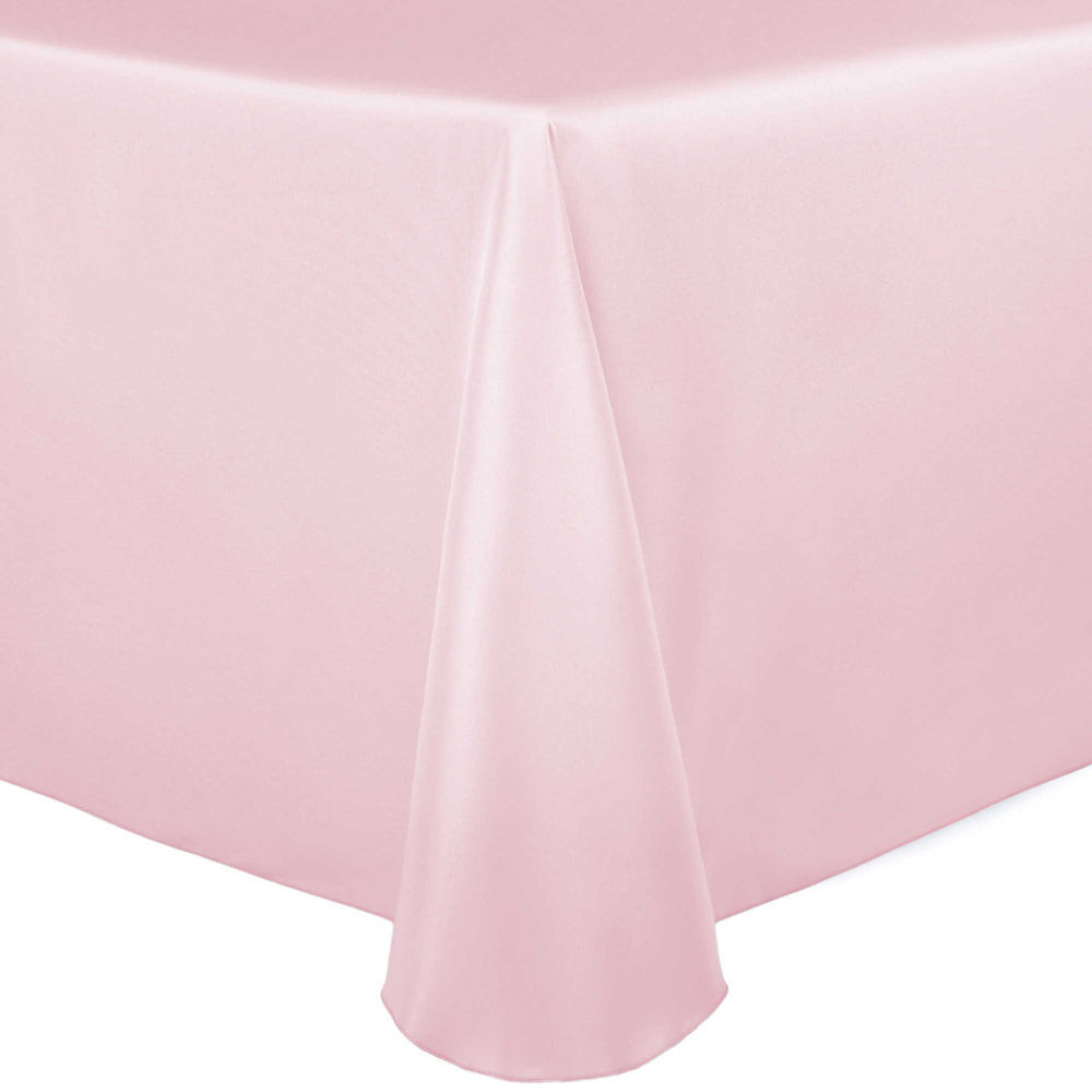 Visual Textile Satin 54 X 96 Inch Oval Tablecloth Blush