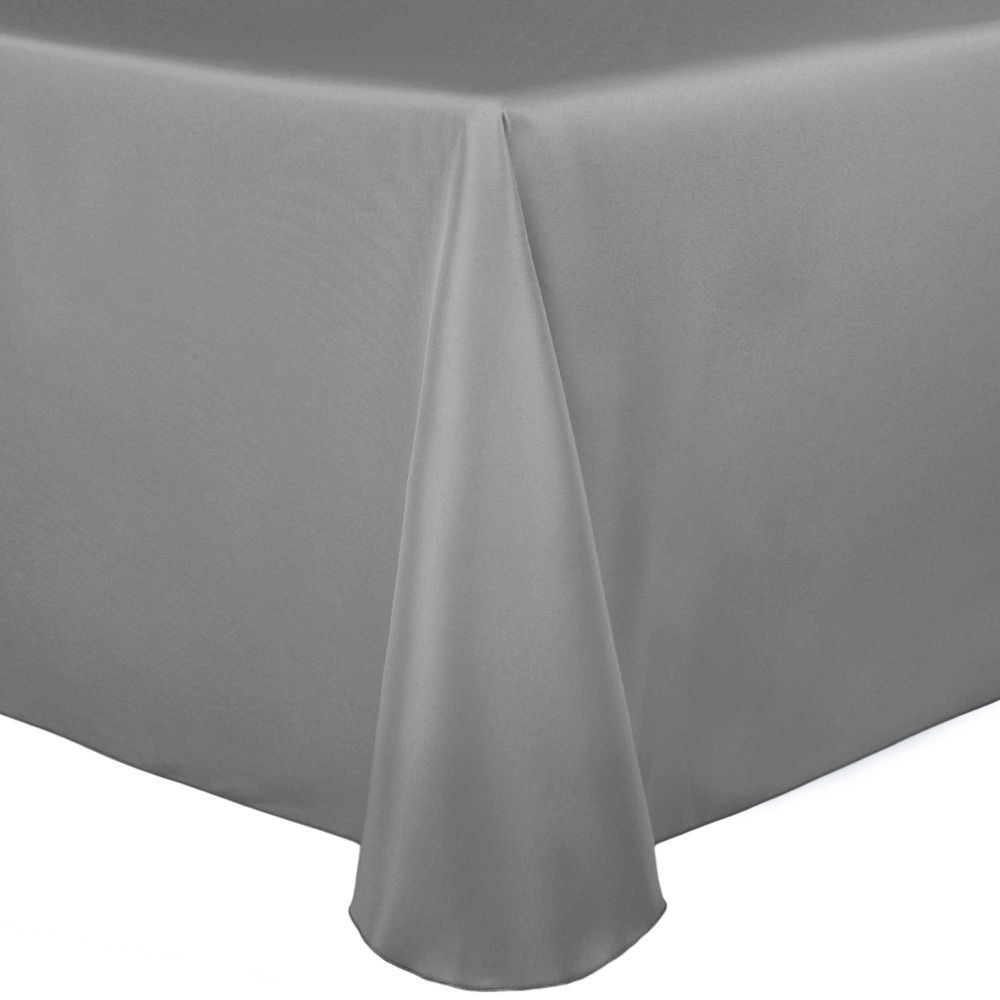 Visual Textile Satin 108 X 156 Inch Rectangular Tablecloth Pewter ...