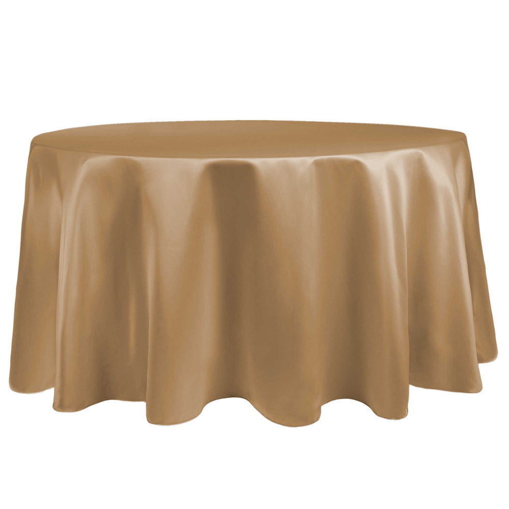 May We Suggest. 45.60. Visual Textile Satin 96 Inch Round Tablecloth  Victorian Gold