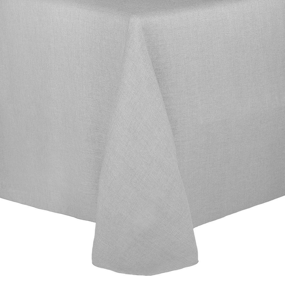 Visual Textile Faux Burlap Havana 60 X 102 Inch Oval Tablecloth Silver Grey