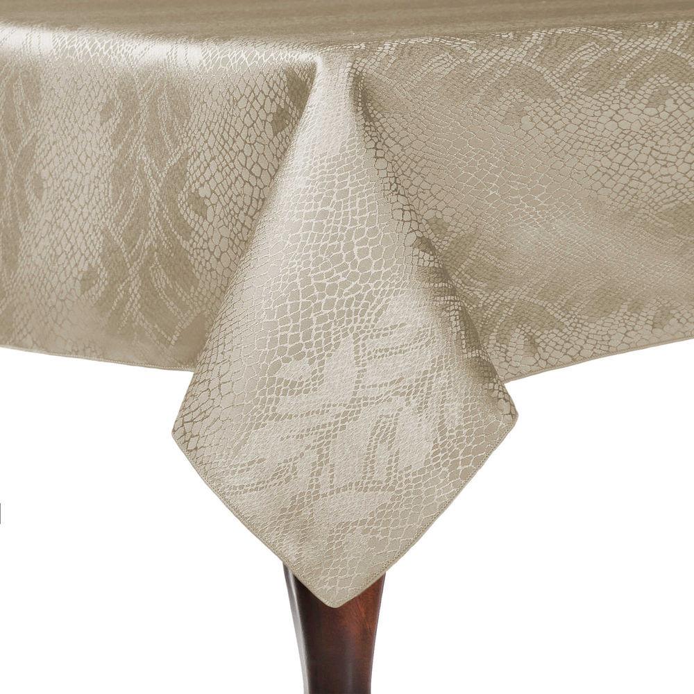 Visual Textile Damask Kenya 60 X 60 Inch Square Tablecloth Natural Ivory  Cream