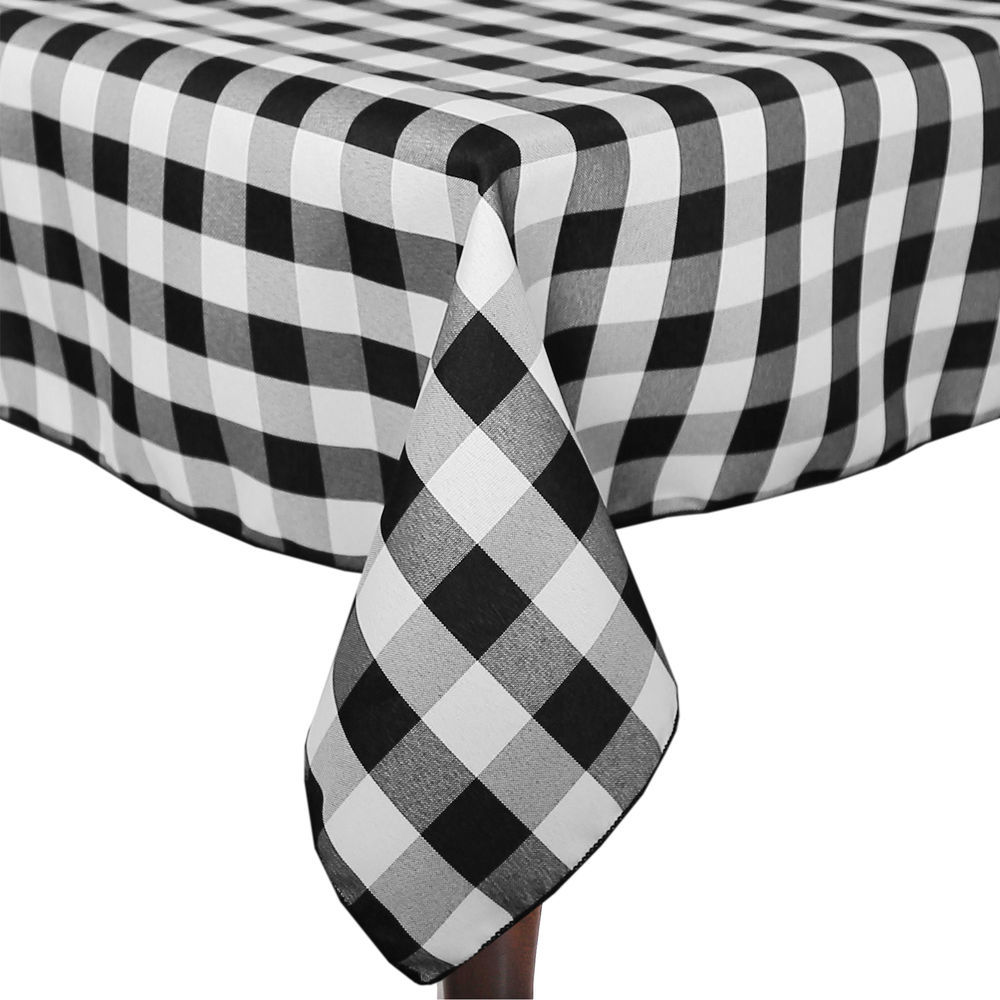 Visual Textile 60 X 60 Inch Square Polyester Checkered Tablecloth Black And  White