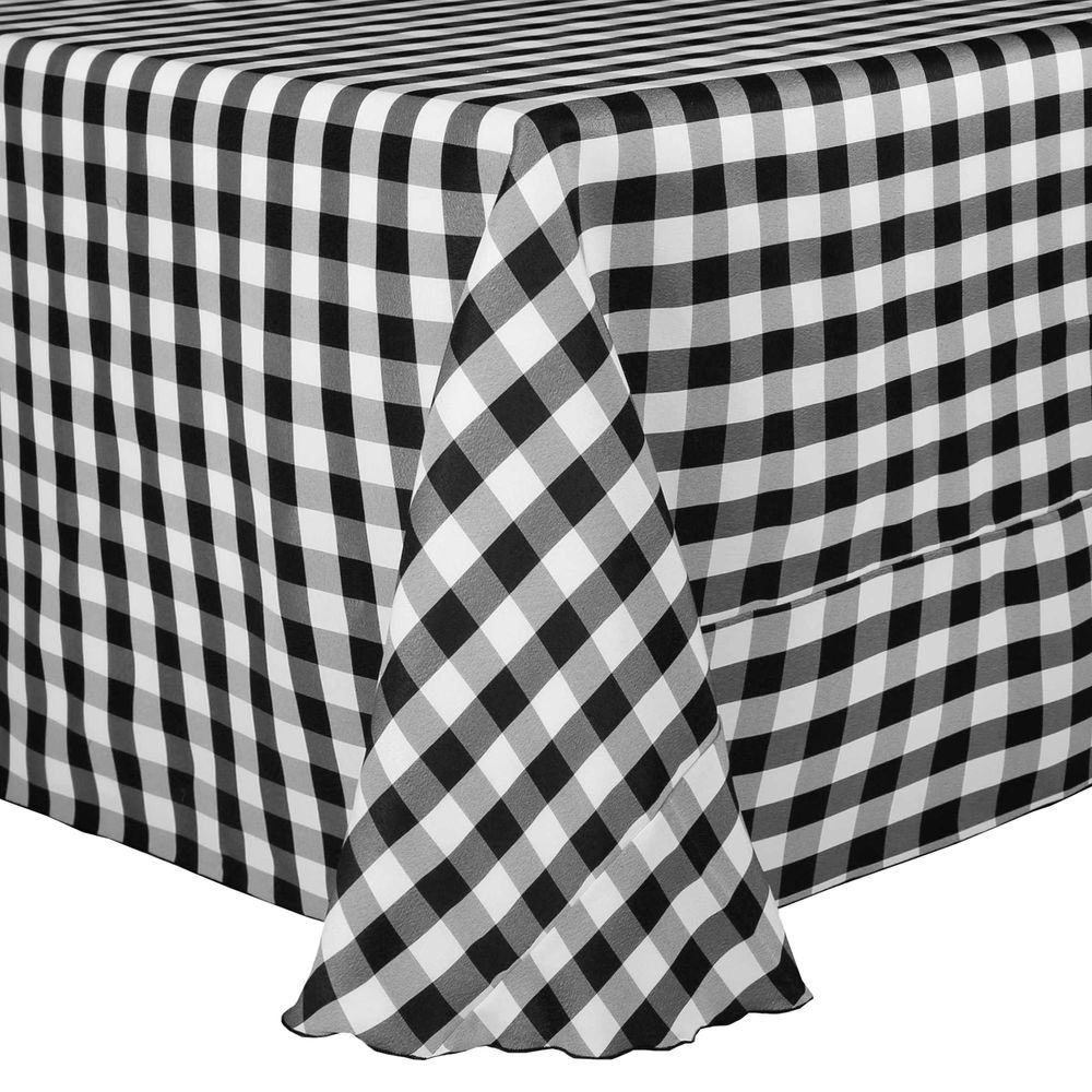Visual Textile 108 X 132 Inch Oval Polyester Checkered Tablecloth Black And  White