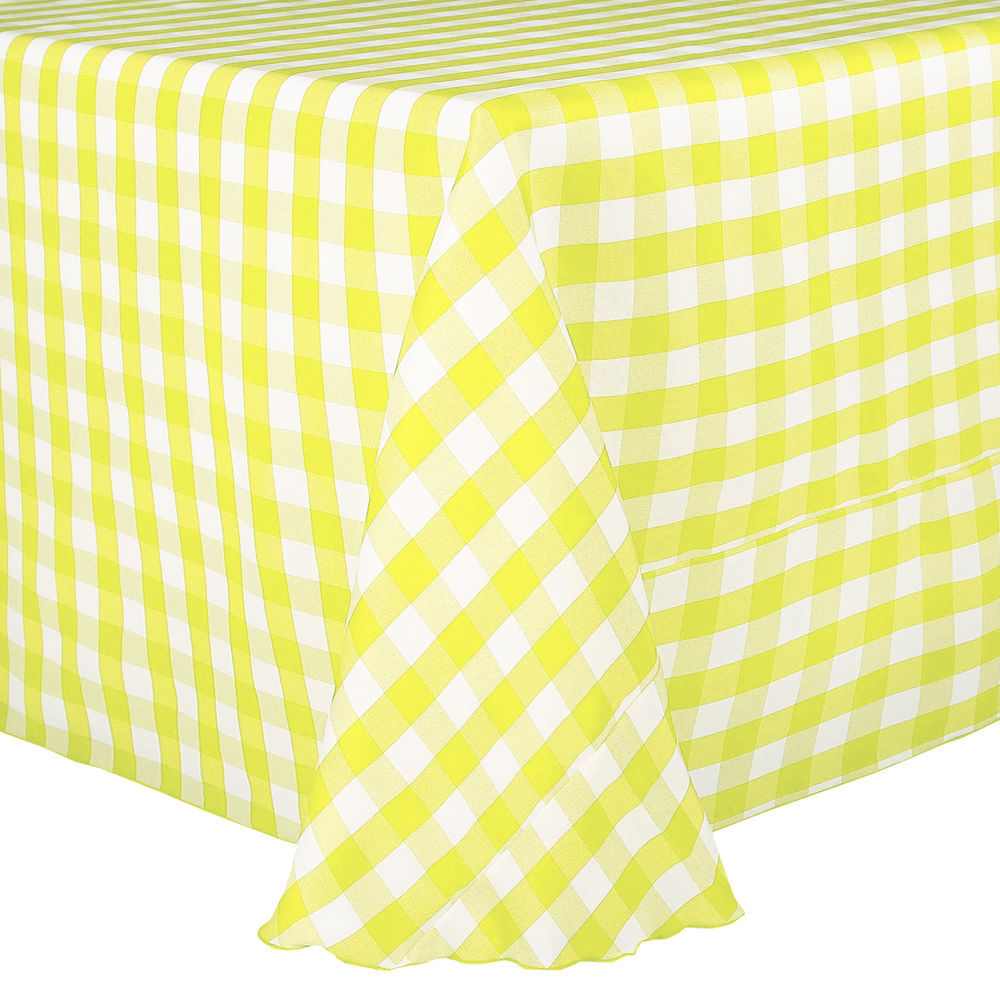 Visual Textile 108 X 108 Inch Square Polyester Checkered Tablecloth Lemon  And White
