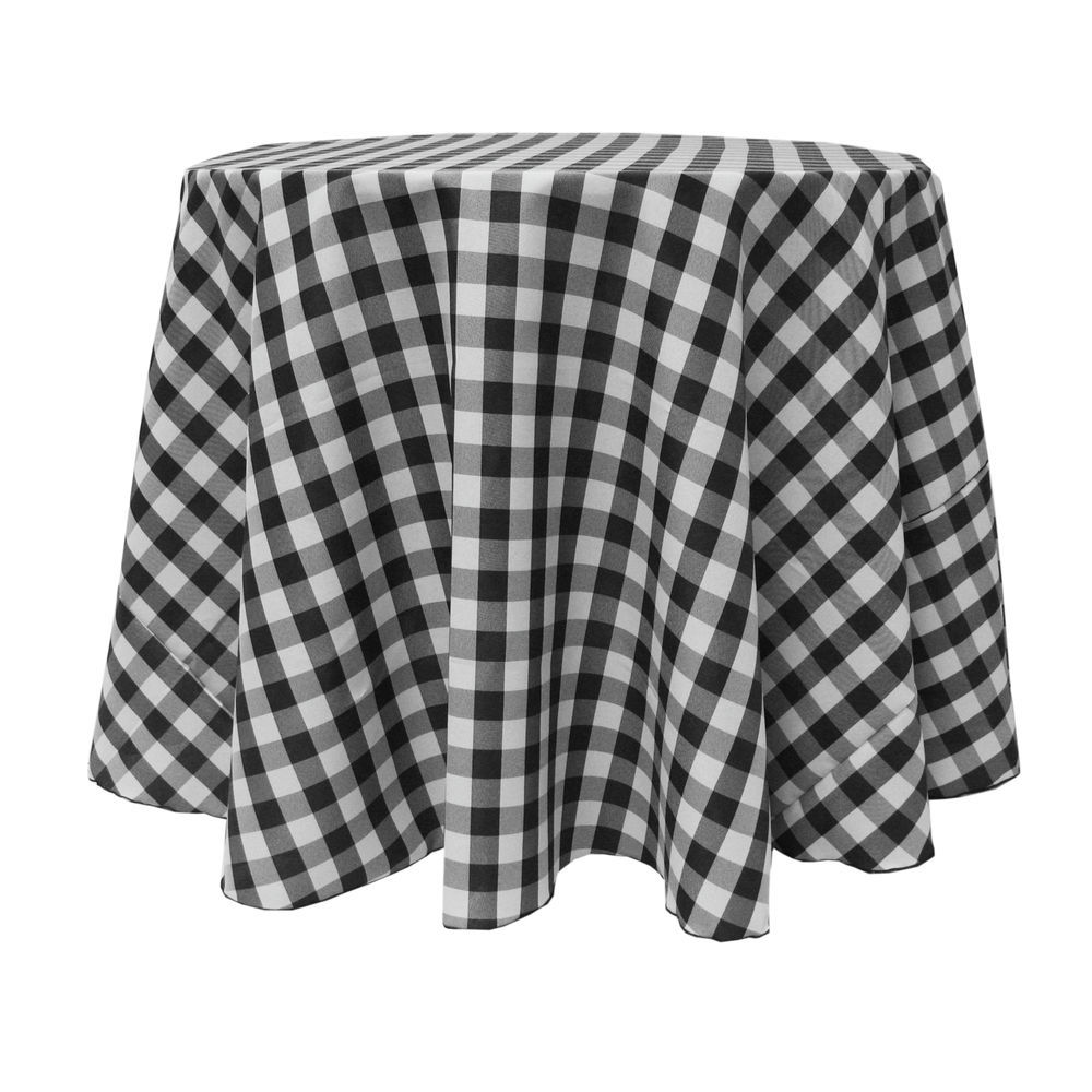 Visual Textile 108 Inch Round Polyester Checkered Tablecloth Black And White