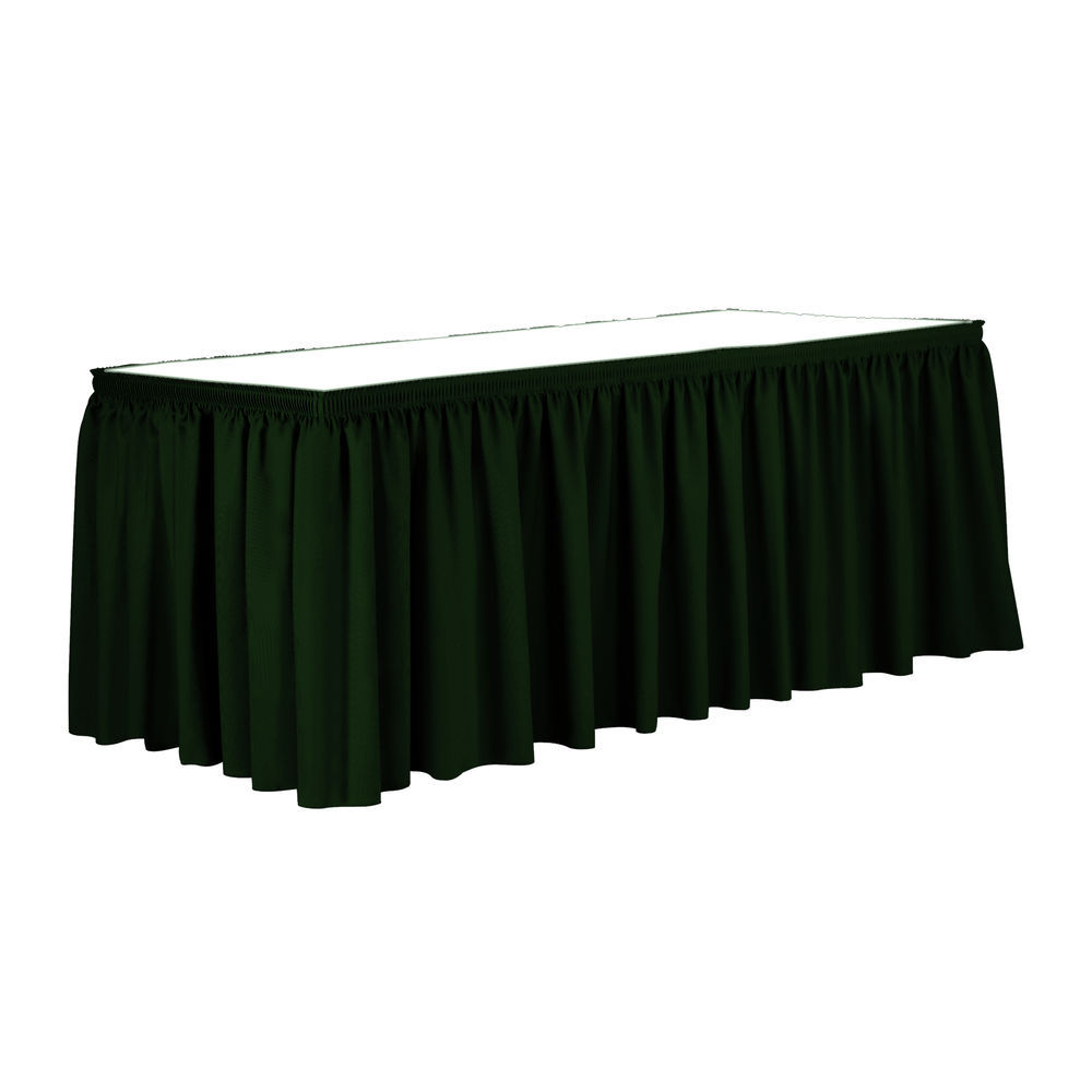 Visual Textile 21 Ft Shirred Pleat Polyester Table Skirt Forest Green