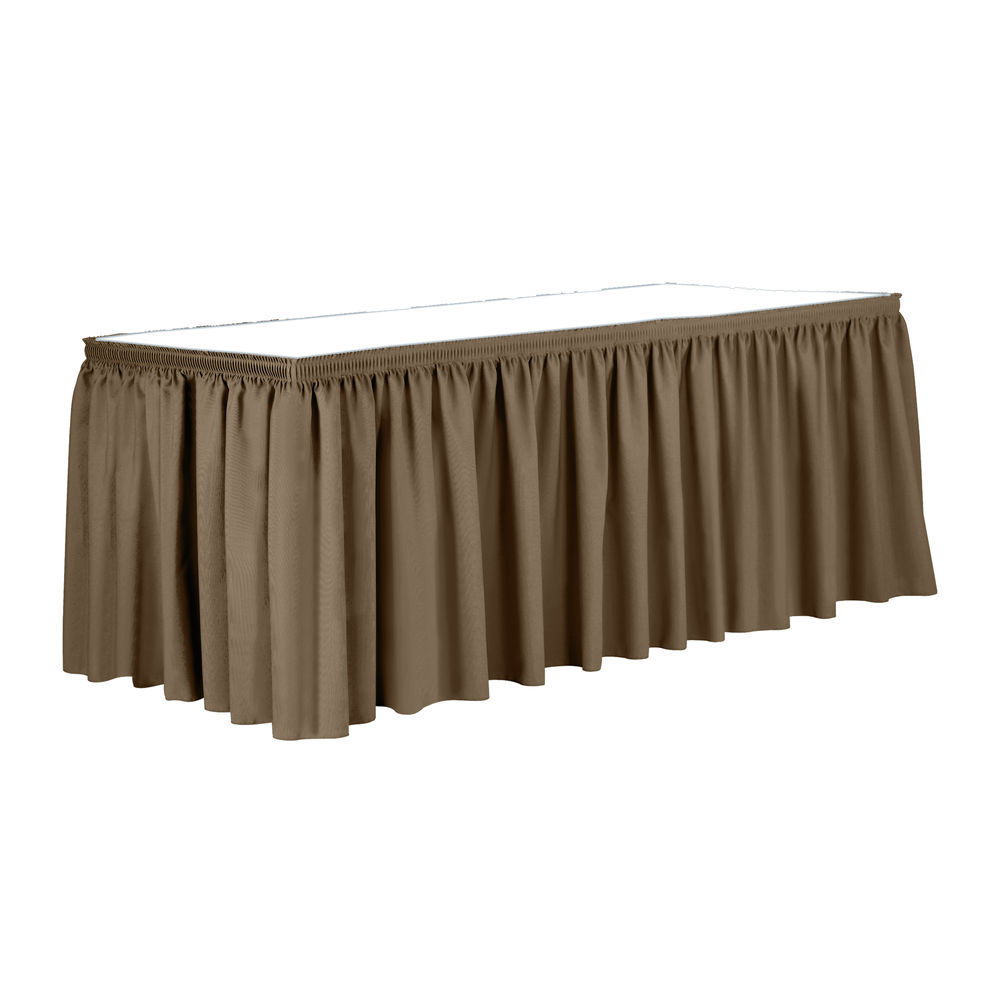 415cd241f Visual Textile 14 ft. Shirred Pleat Polyester Table Skirt Toast Dark Brown