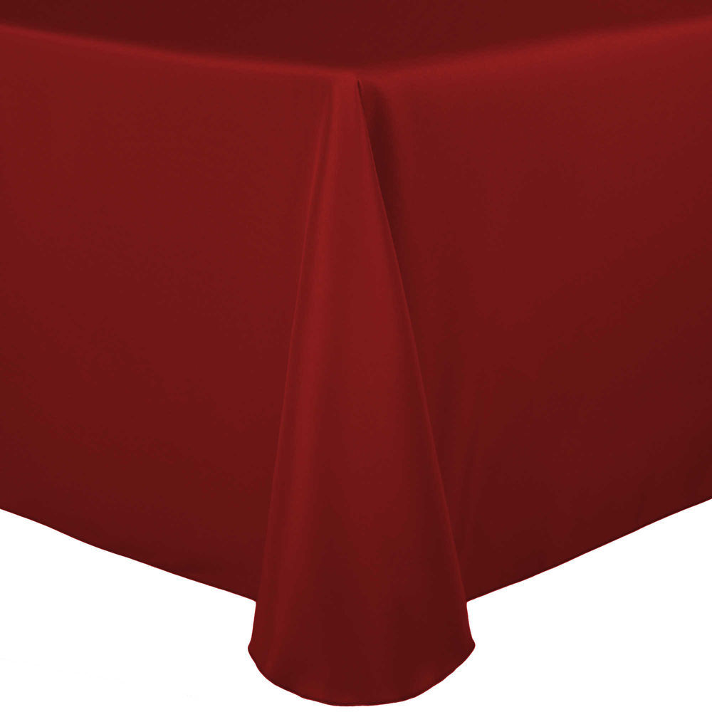 Visual Textile 60 X 144 Inch Oval Polyester Linen Tablecloth Cherry Red