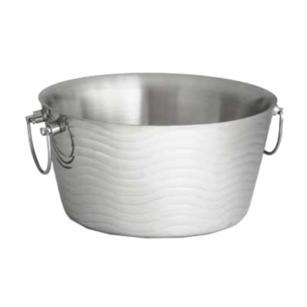 Tablecraft Round Double Wall Wave Beverage Tub Stainless Steel 14 5 X 7 5