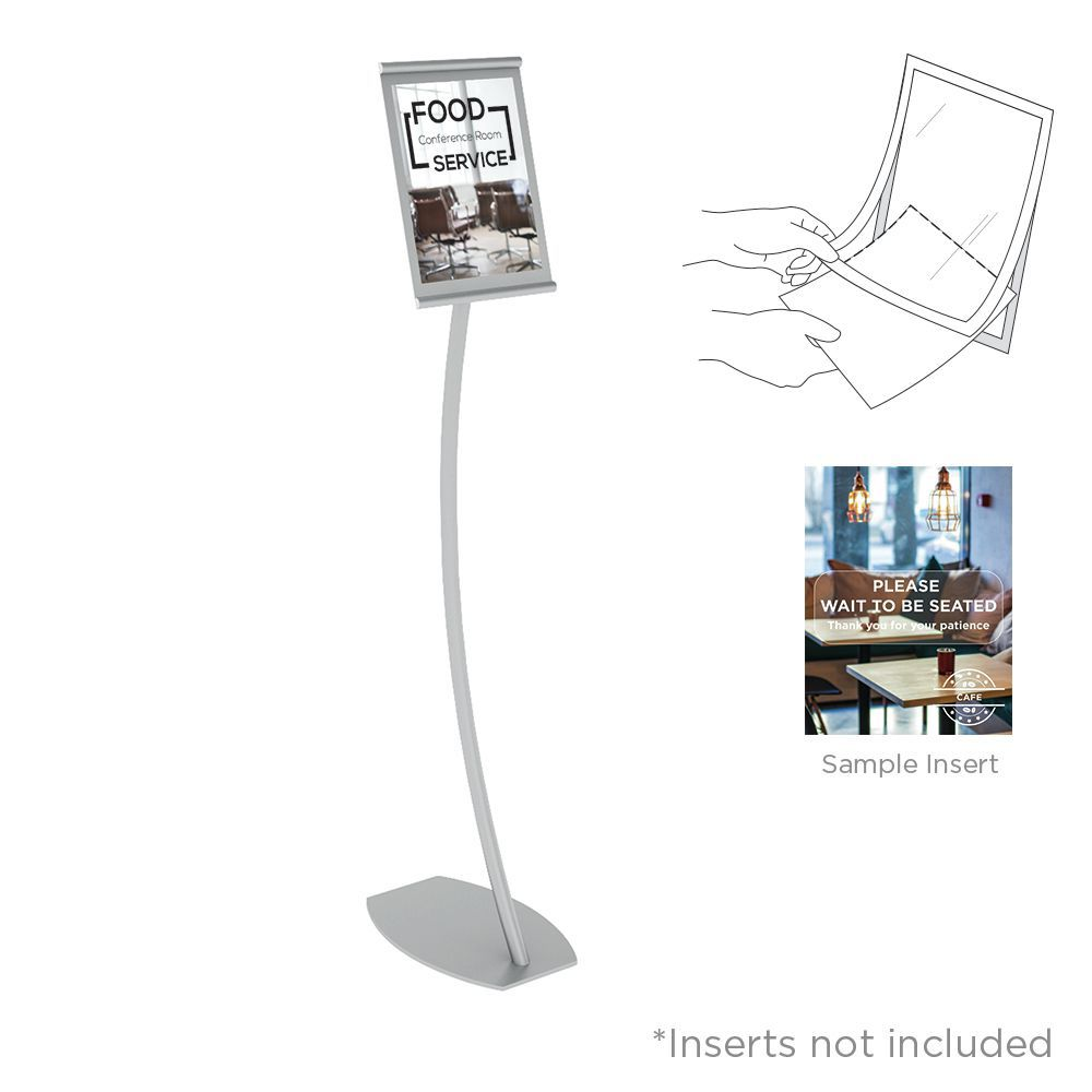 Vgs Silver Floor Stand Sign Holder With Magnetic Lift Up Cover For Easy