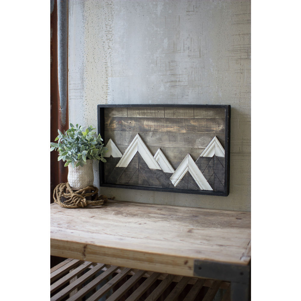 Wooden Mountains With White Caps Wall Art