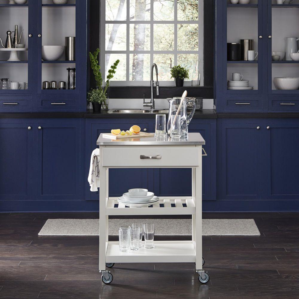 Homestyles Vineyard Stainless Steel Top Kitchen Cart