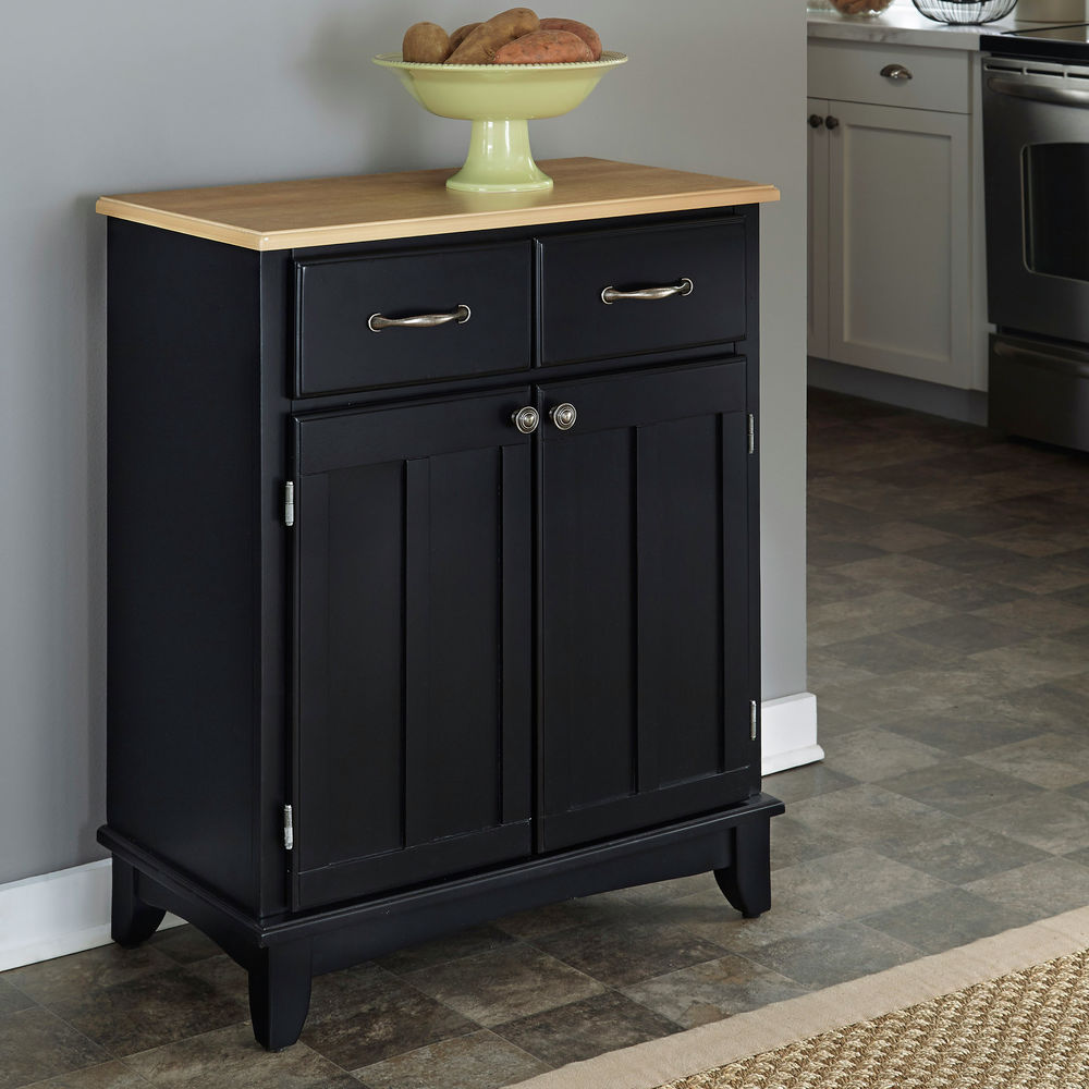 Homestyles 2925 Black Buffet Of Buffet With Natural Wood Top