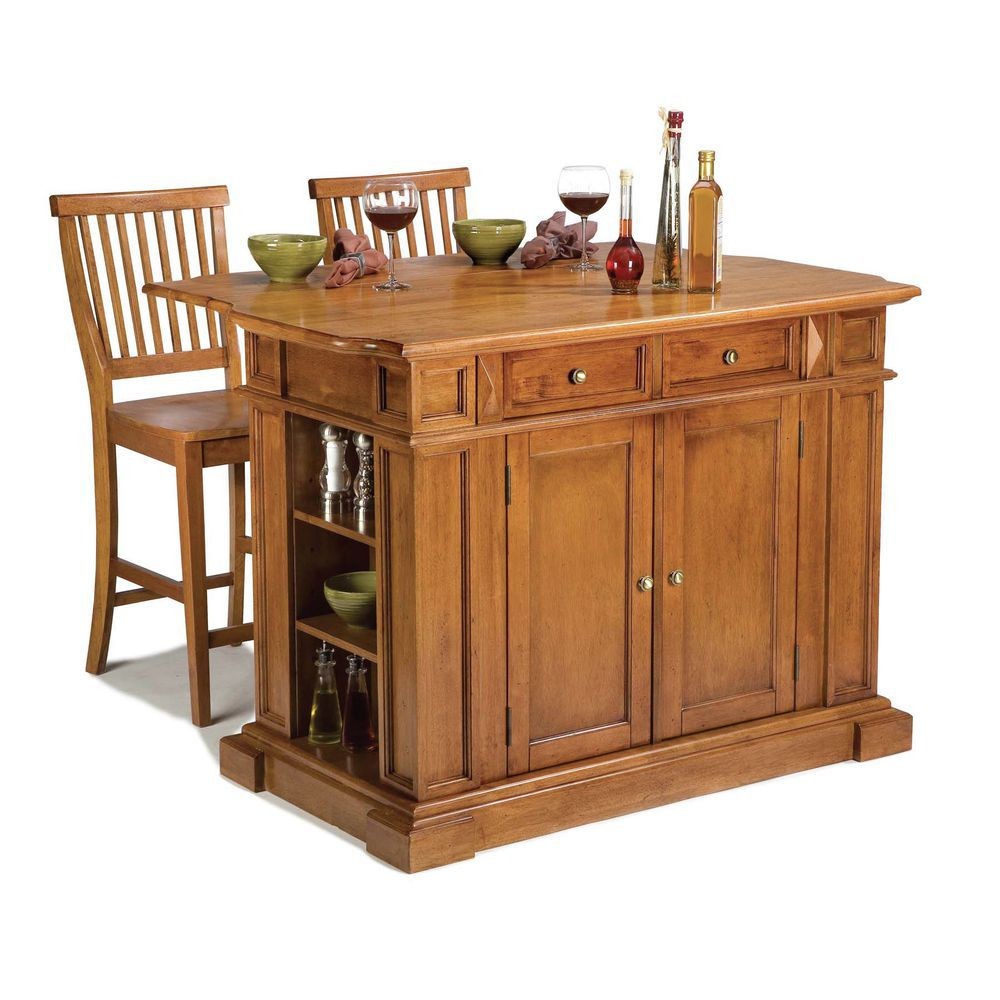 Homestyles Kitchen Island And Stools Distressed Oak