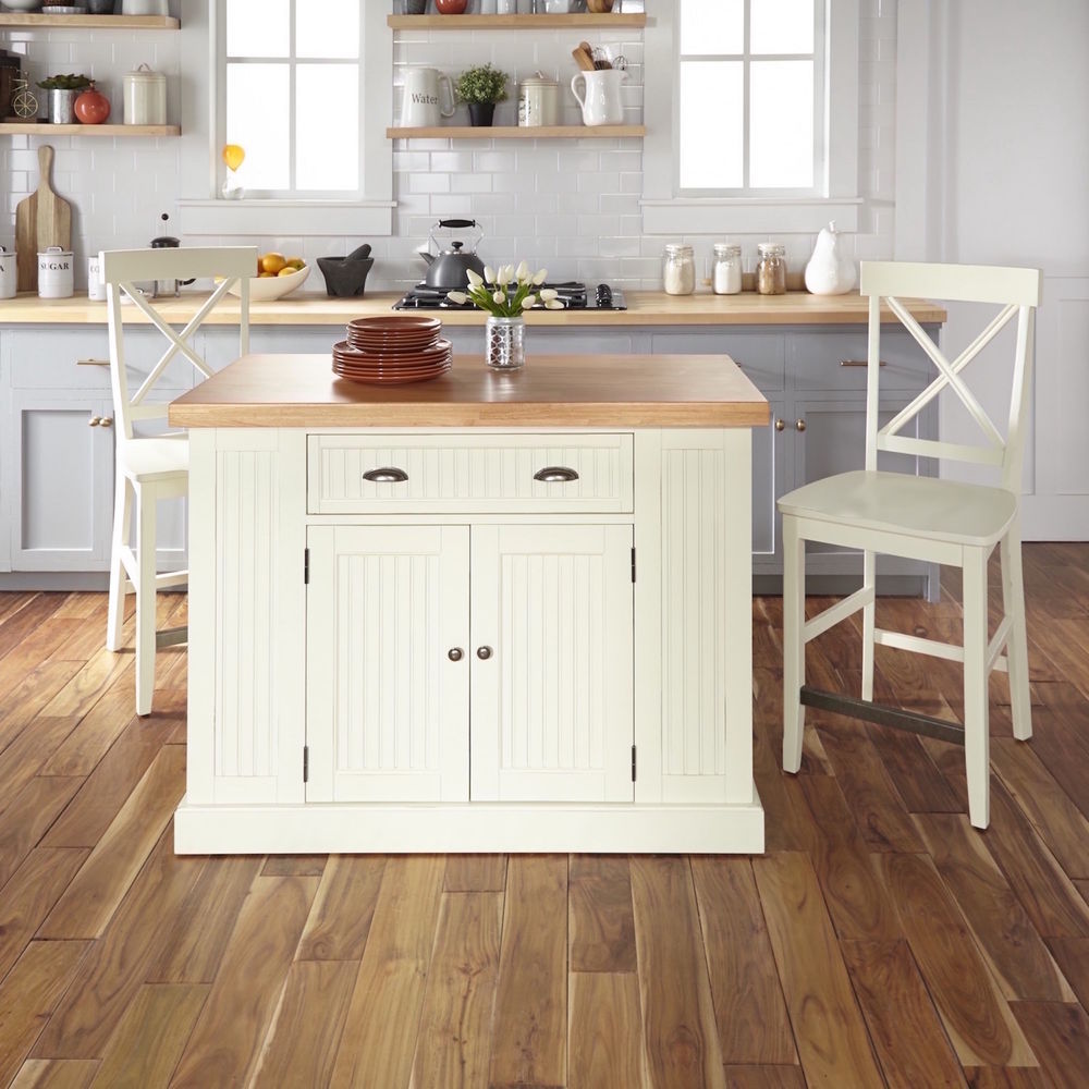 Homestyles Nantucket Solid Wood Top Kitchen Island 2 Counter Stools