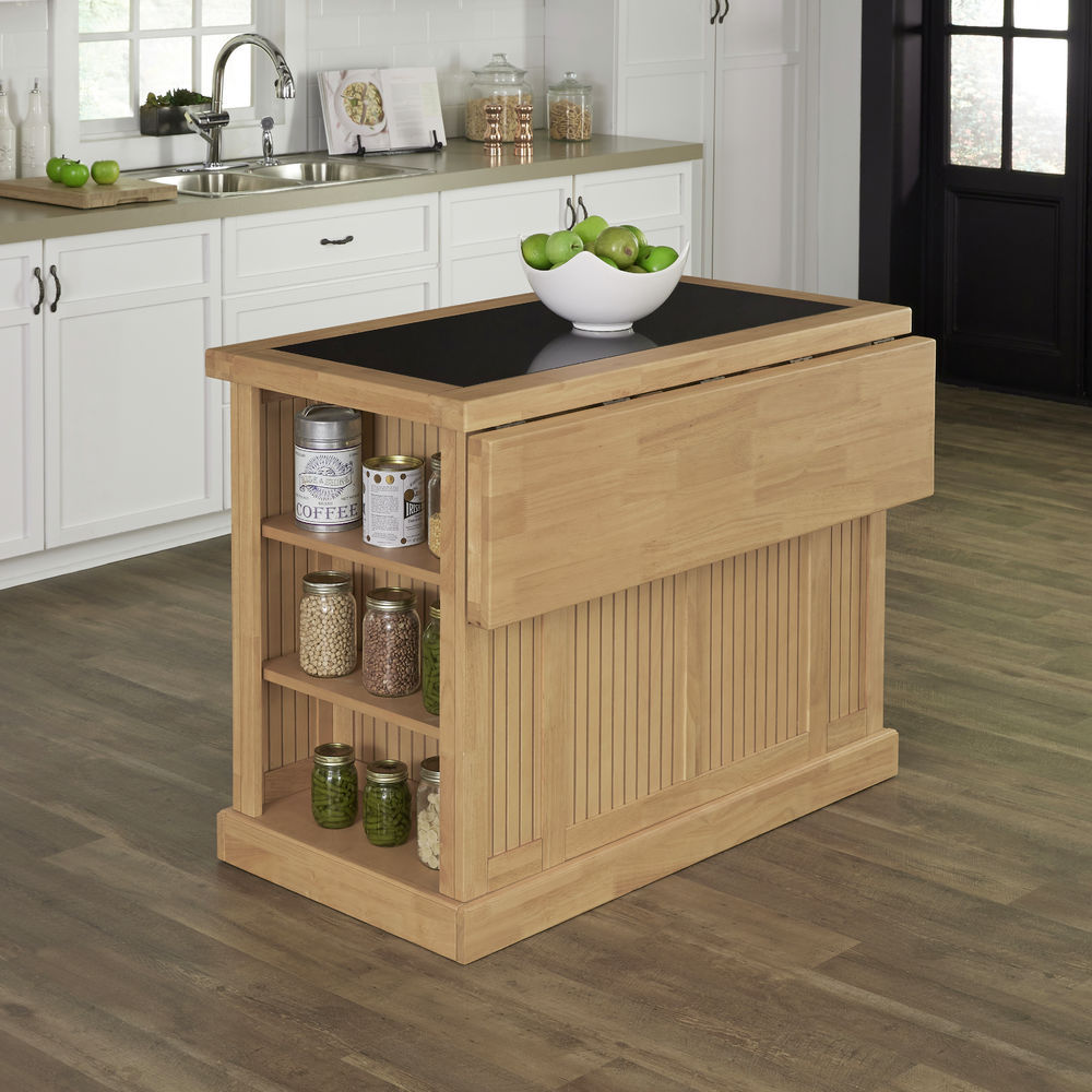 Homestyles Nantucket Natural Kitchen Island with Granite Top