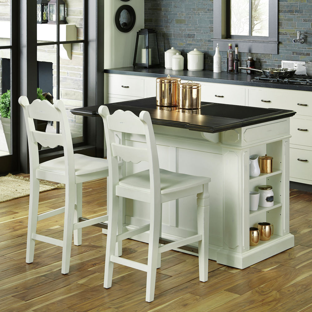 Homestyles White Fiesta Granite Inset Top Kitchen Island with 2 stools