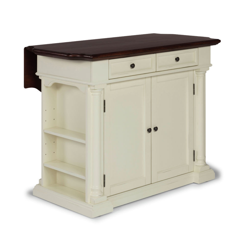 Homestyles Beacon Hill White Solid Wood Top Kitchen Island