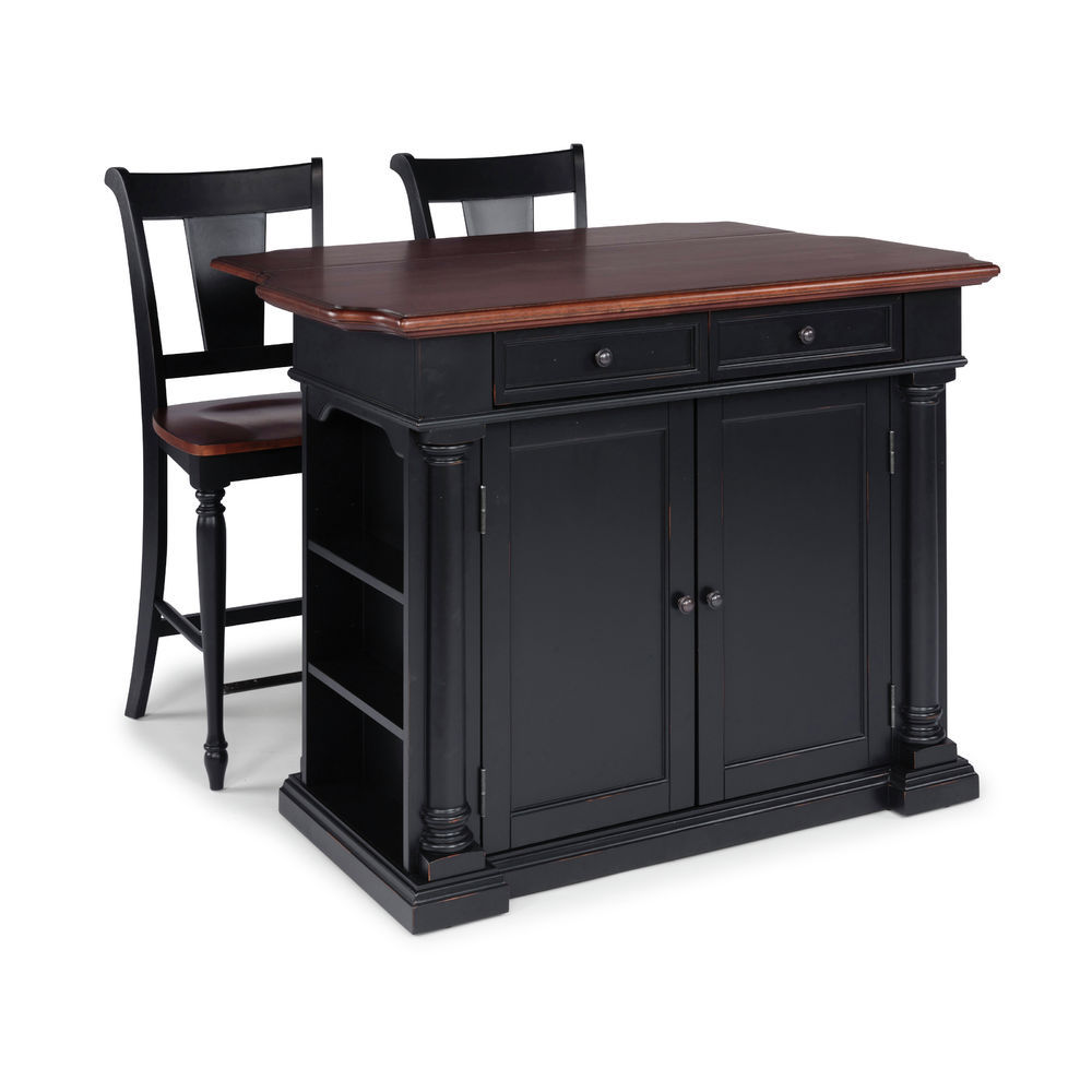 Homestyles Beacon Hill Black Solid Wood Top Kitchen Island & 2 Stools