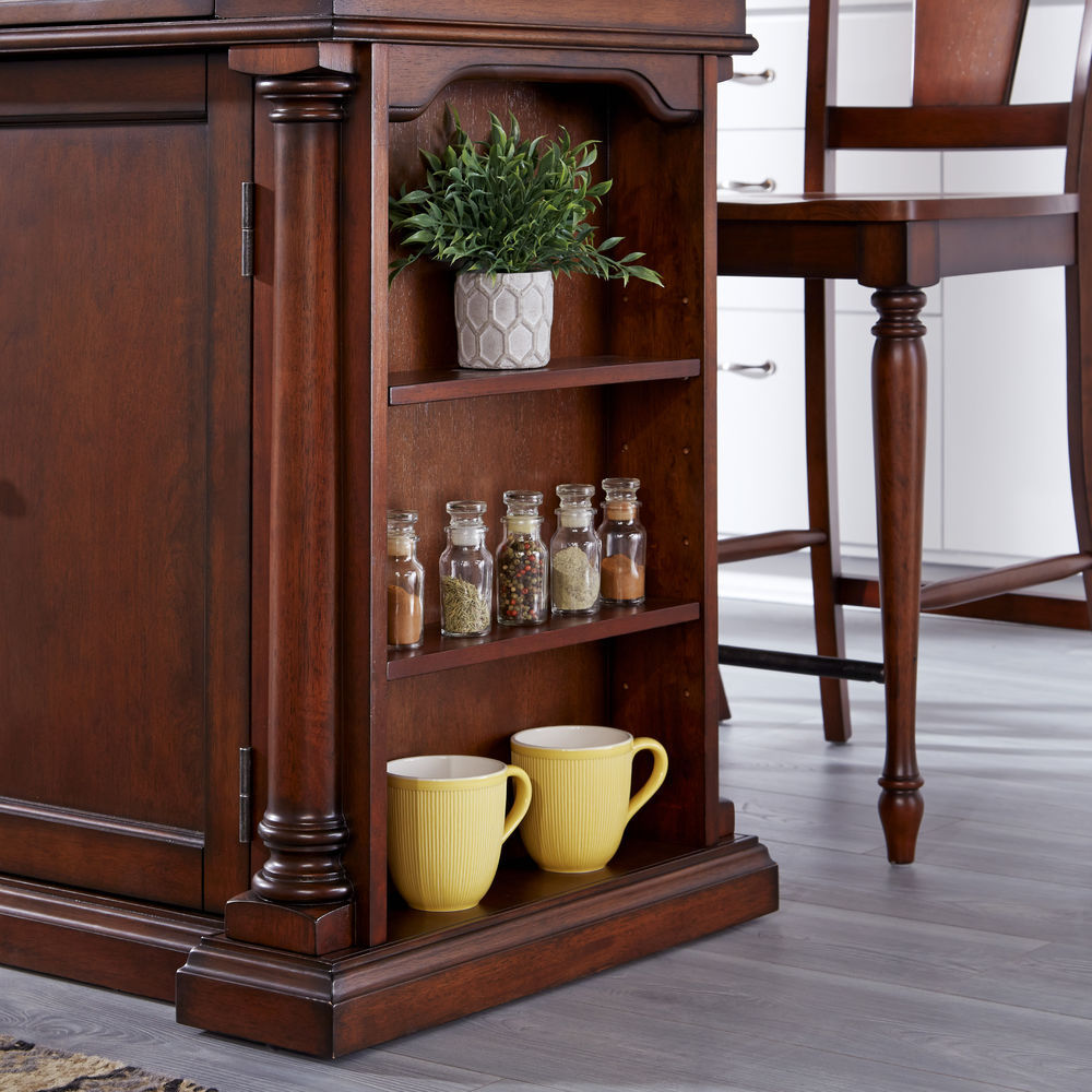Homestyles Beacon Hill Cherry Finished Solid Wood Top Kitchen Island & 2  Stools