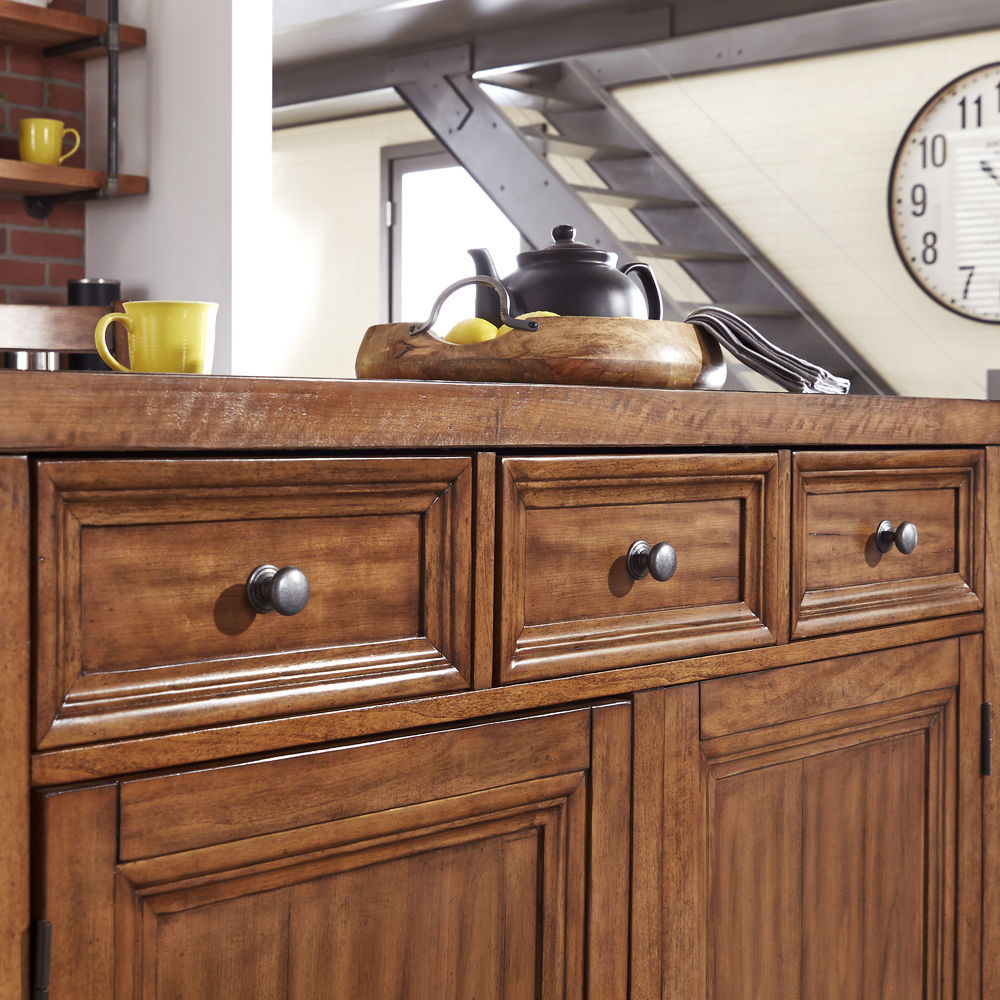 Homestyles Sedona Wood Top Kitchen Island & 2 Stools