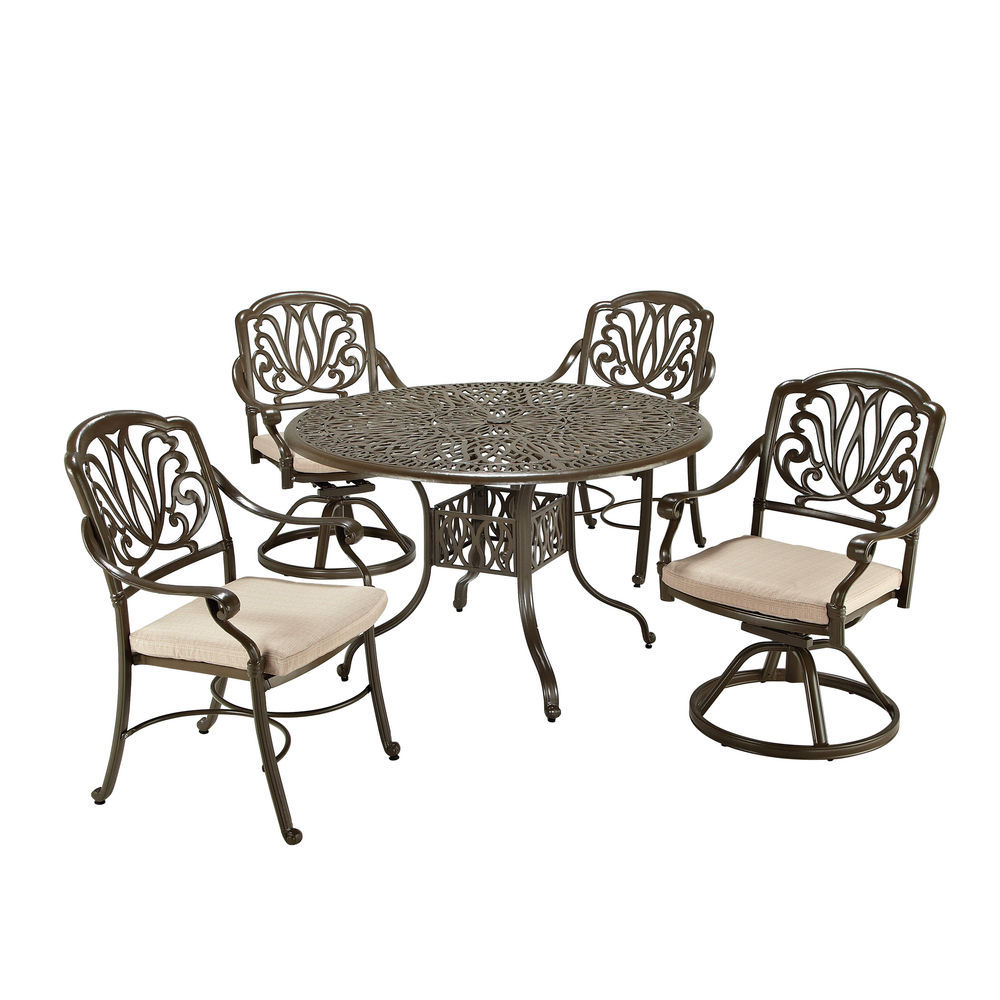 Astonishing Homestyles Taupe Floral Blossom 5 Pc Dining Set 2 Arm Chairs 2 Swivel Chairs 48 Table Evergreenethics Interior Chair Design Evergreenethicsorg