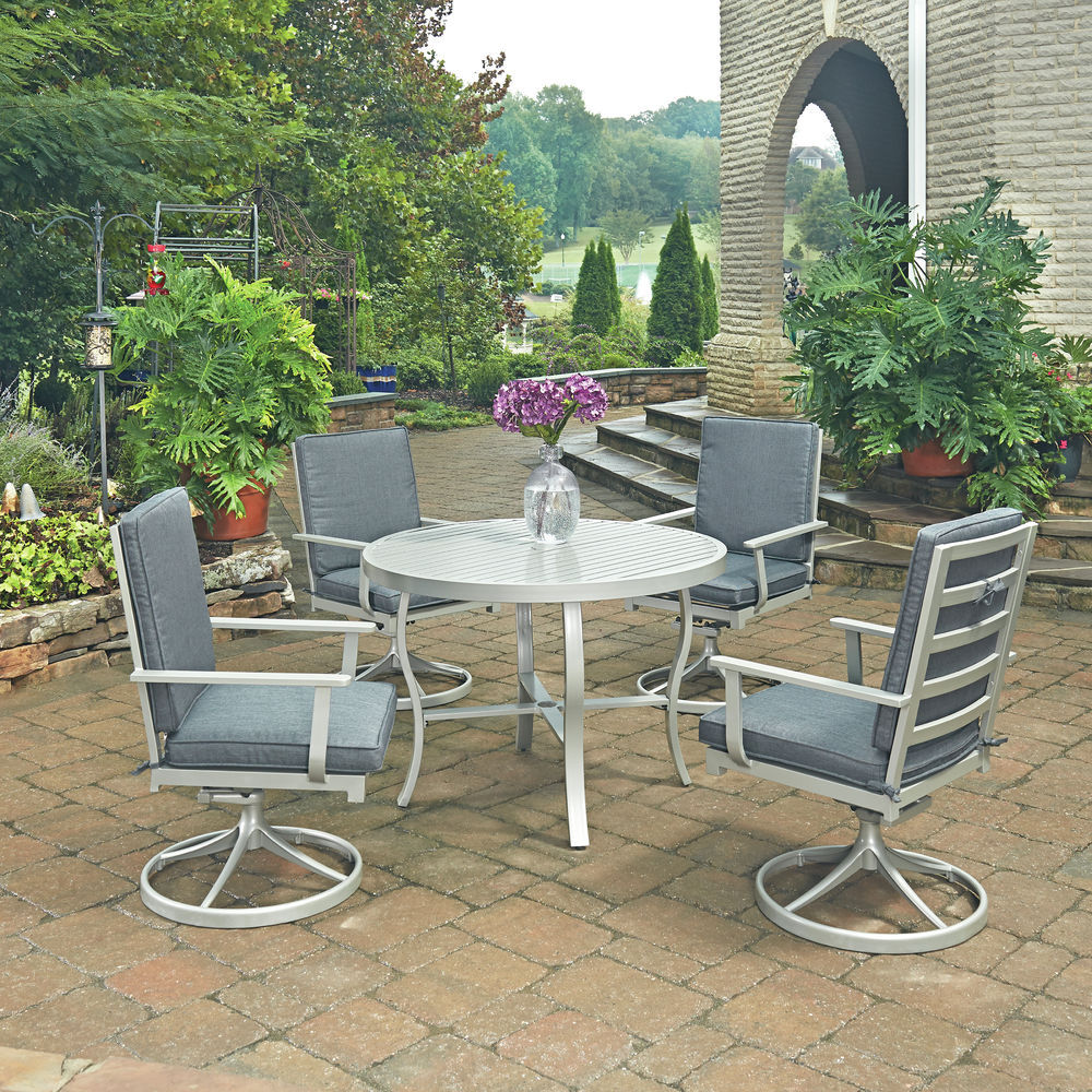 Tremendous Homestyles South Beach 5 Pc Round Outdoor 48 Dining Table 4 Swivel Rocking Chairs Gmtry Best Dining Table And Chair Ideas Images Gmtryco