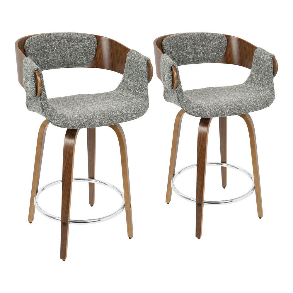 Outstanding Lumisource Elisa Mid Century Modern Counter Stool In Walnut And Grey Fabric Set Of 2 Squirreltailoven Fun Painted Chair Ideas Images Squirreltailovenorg