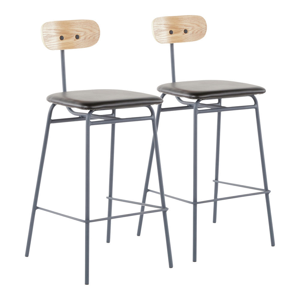 Wondrous Lumisource Elio Contemporary Counter Stool In Grey Metal Black Faux Leather And Natural Wood By Lumisource Set Of 2 Uwap Interior Chair Design Uwaporg
