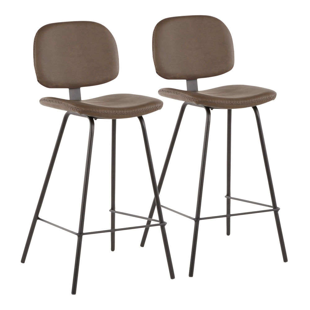 Pleasant Lumisource Industrial Nunzio Counter Stool In Black Metal And Brown Faux Leather By Lumisource Set Of 2 Gmtry Best Dining Table And Chair Ideas Images Gmtryco