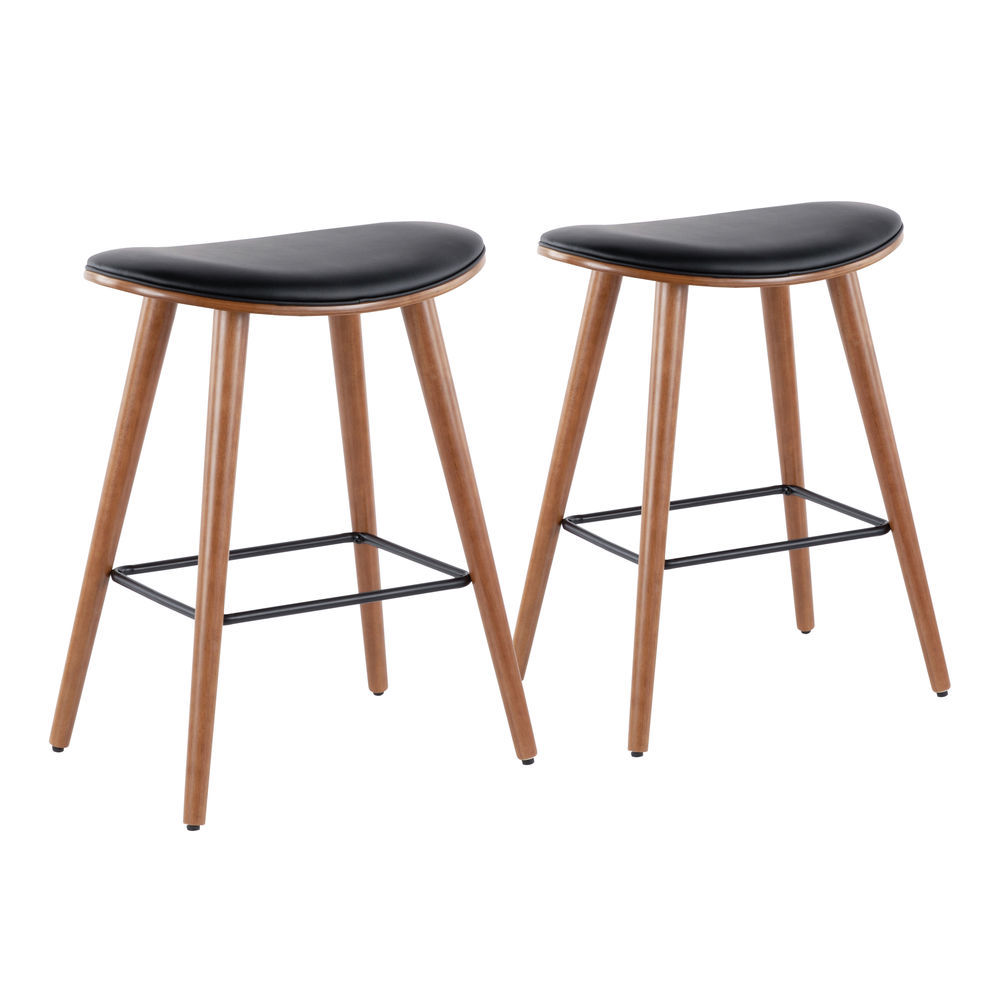 Fantastic Lumisource Saddle 26 Mid Century Modern Counter Stool In Walnut And Black Faux Leather By Lumisource Set Of 2 Squirreltailoven Fun Painted Chair Ideas Images Squirreltailovenorg