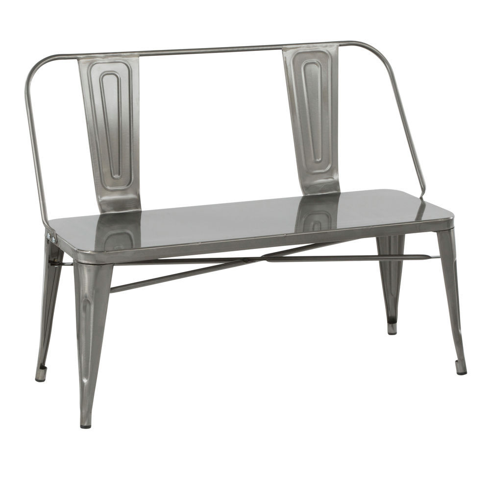 Awe Inspiring Lumisource Oregon Industrial Metal Dining Entryway Bench In Clear Brushed Silver By Lumisource Onthecornerstone Fun Painted Chair Ideas Images Onthecornerstoneorg
