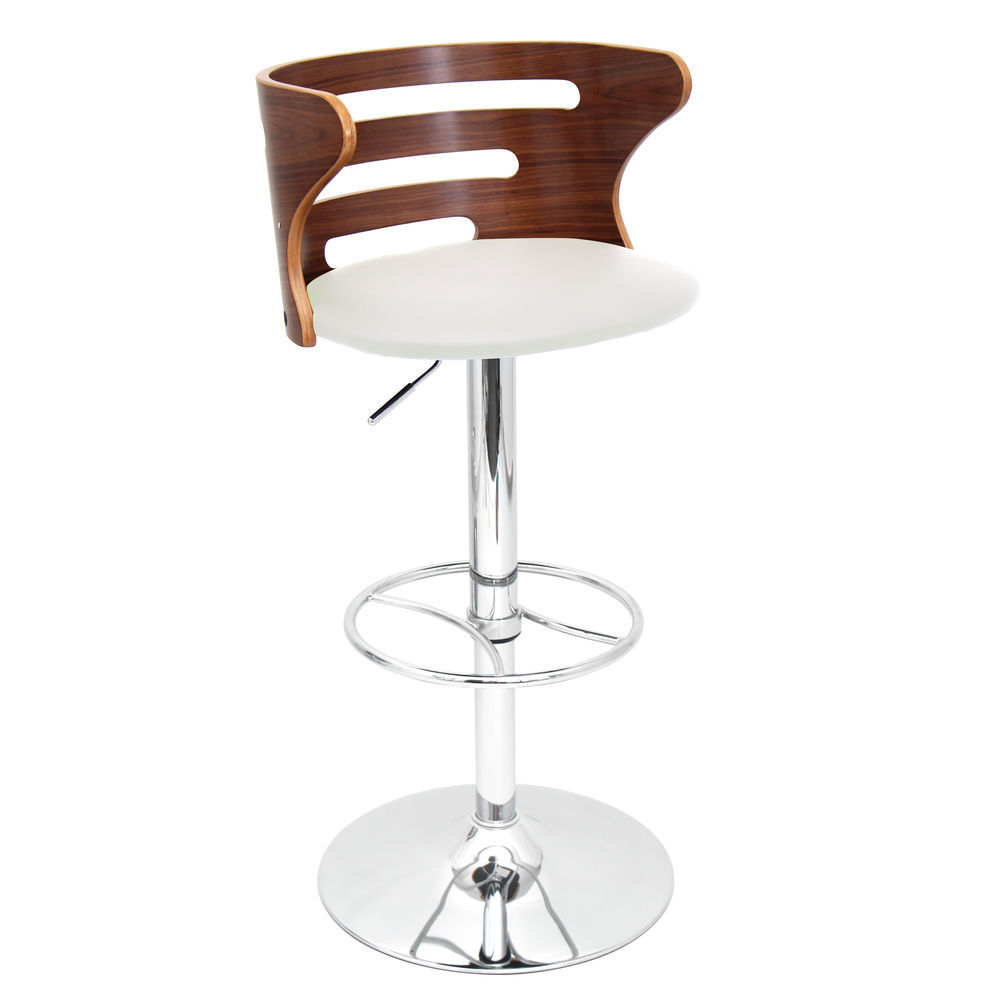 Marvelous Lumisource Cosi Mid Century Modern Adjustable Barstool With Swivel In Walnut And Cream Faux Leather By Lumisource Forskolin Free Trial Chair Design Images Forskolin Free Trialorg