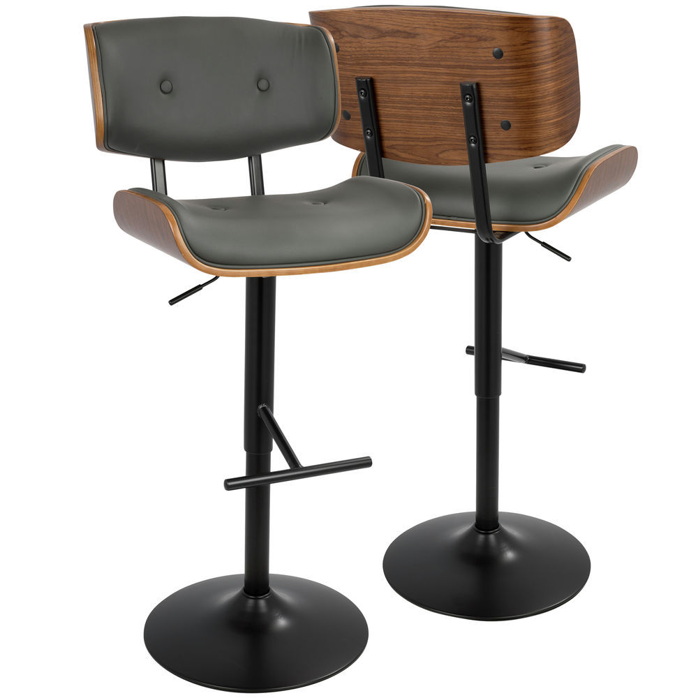 Pleasing Lumisource Lombardi Mid Century Modern Adjustable Barstool In Walnut With Grey Faux Leather By Lumisource Unemploymentrelief Wooden Chair Designs For Living Room Unemploymentrelieforg