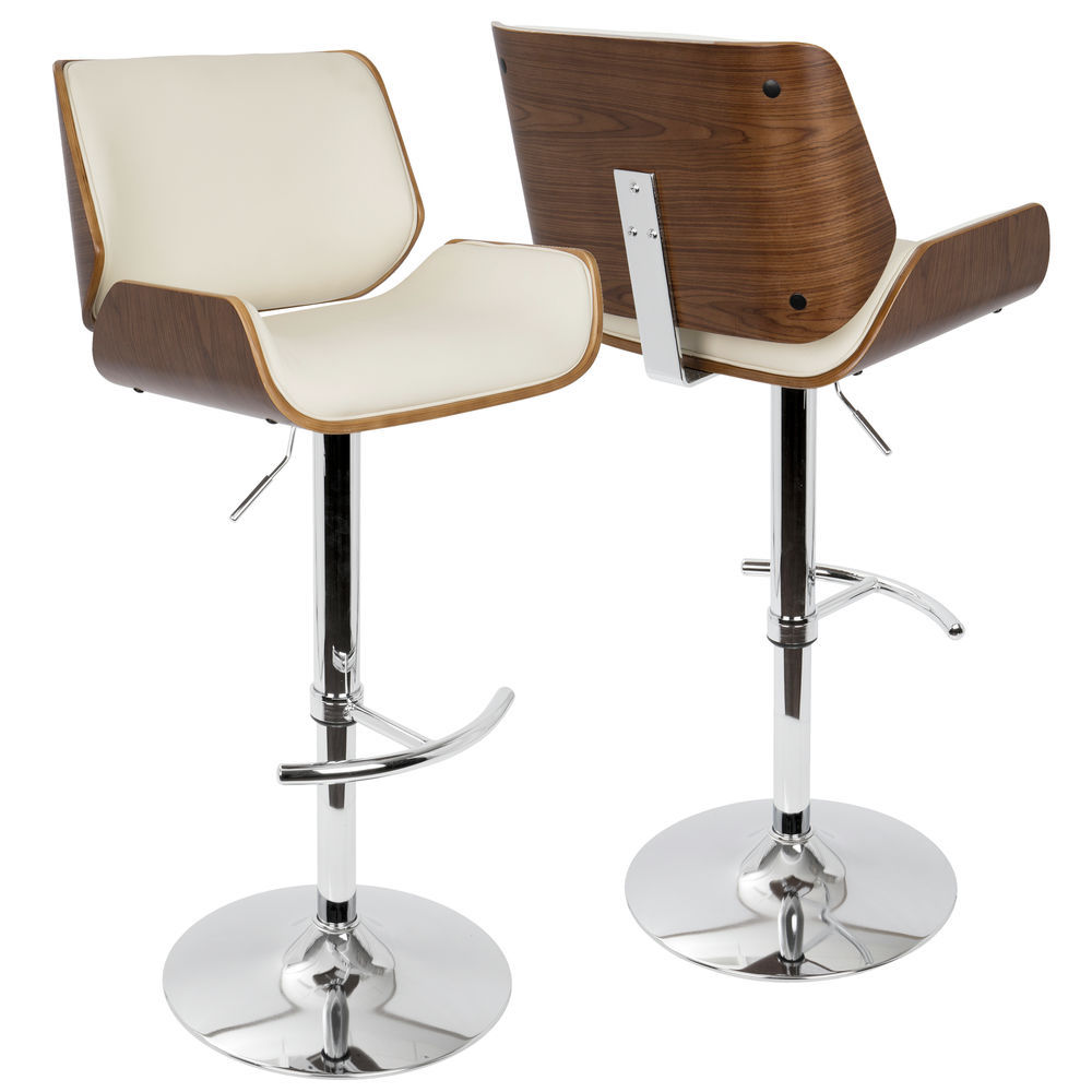 Superb Lumisource Santi Mid Century Modern Adjustable Barstool With Swivel In Walnut And Cream Faux Leather By Lumisource Forskolin Free Trial Chair Design Images Forskolin Free Trialorg
