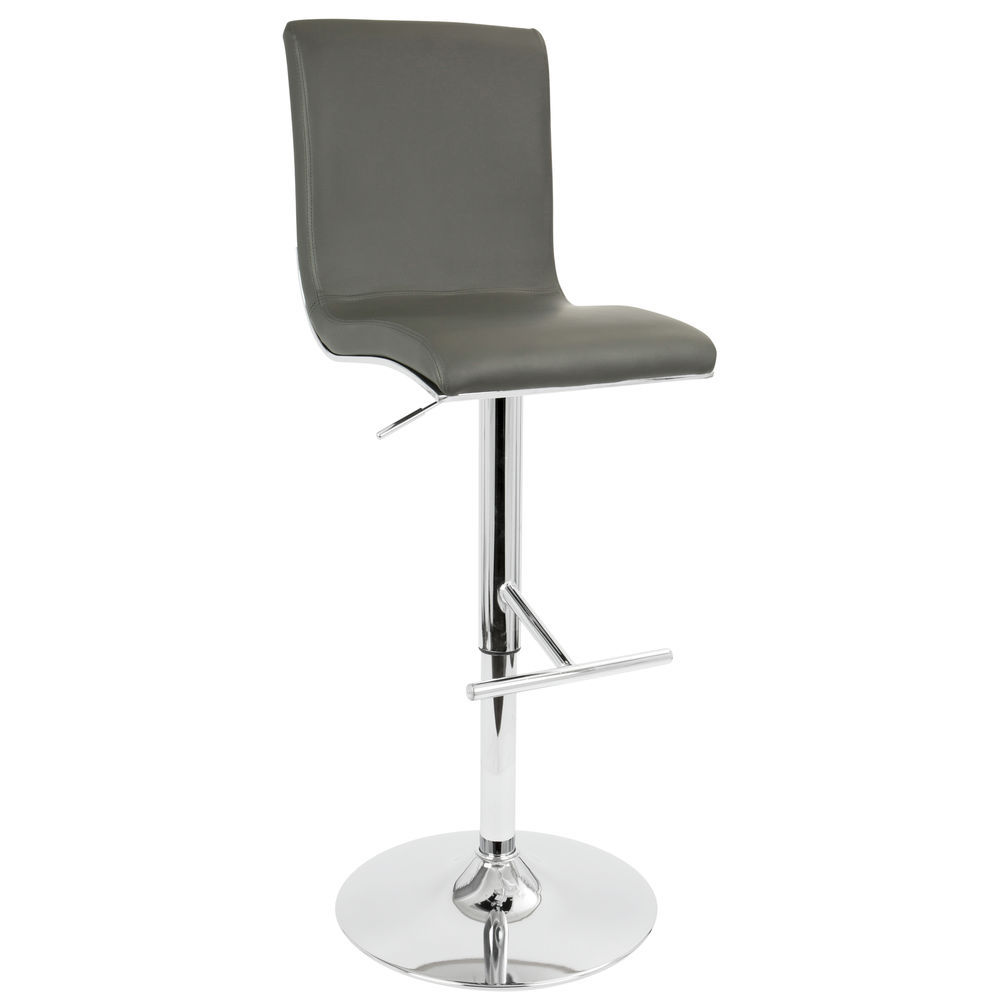 Miraculous Lumisource Spago Contemporary Adjustable Barstool With Swivel In Grey Faux Leather By Lumisource Caraccident5 Cool Chair Designs And Ideas Caraccident5Info