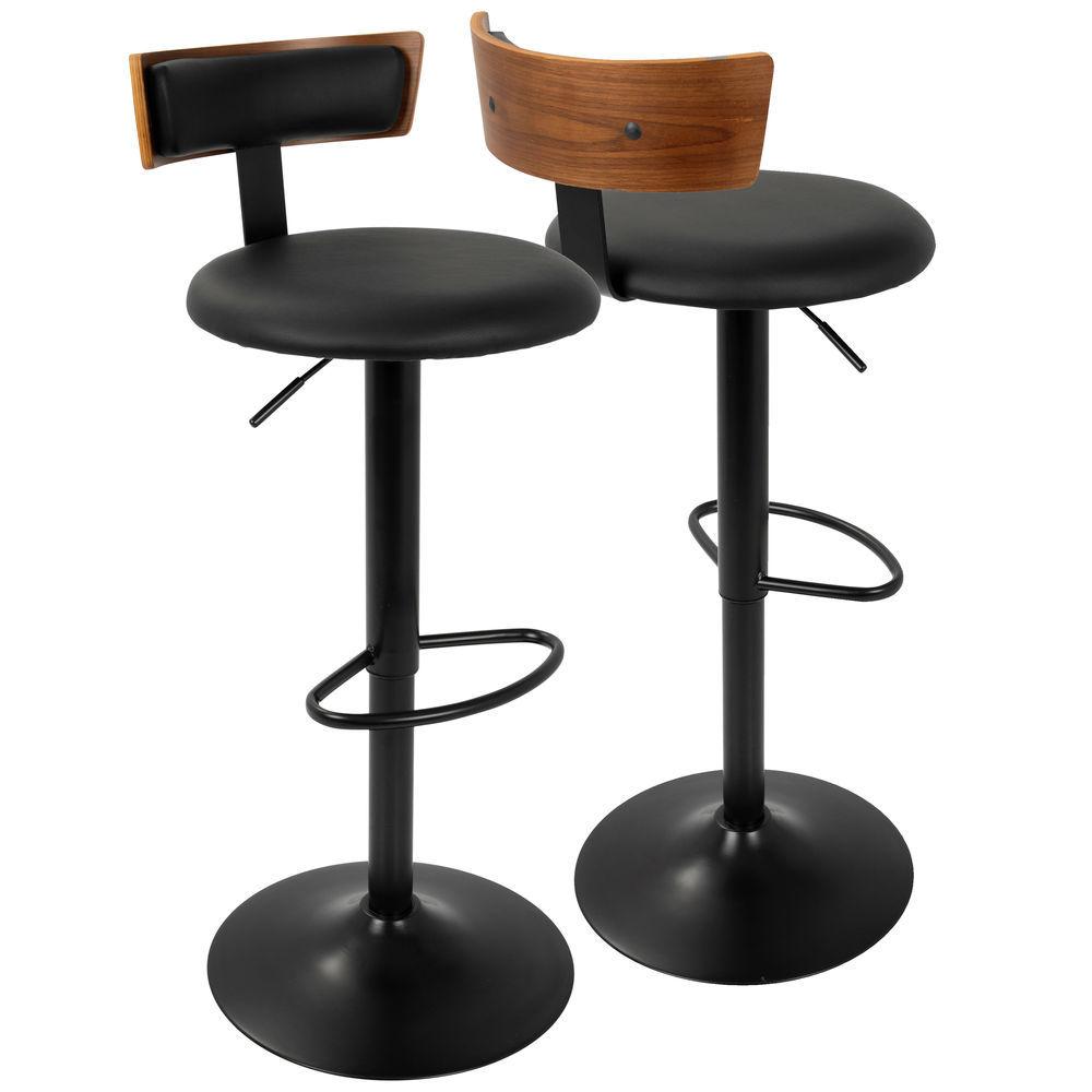 Enjoyable Lumisource Arc Contemporary Adjustable Barstool In Walnut Evergreenethics Interior Chair Design Evergreenethicsorg