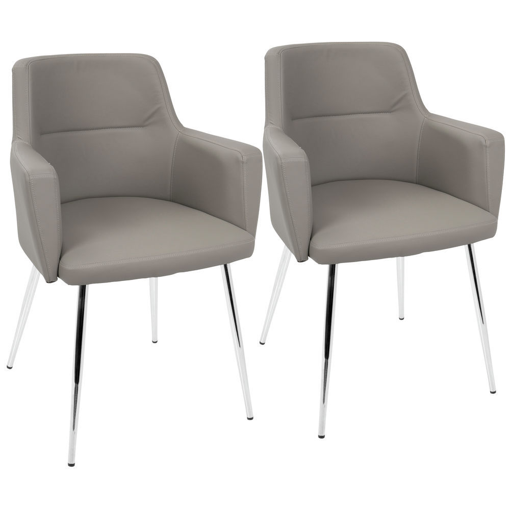 Fantastic Lumisource Andrew Contemporary Dining Accent Chair In Chrome And Grey Faux Leather By Lumisource Set Of 2 Cjindustries Chair Design For Home Cjindustriesco