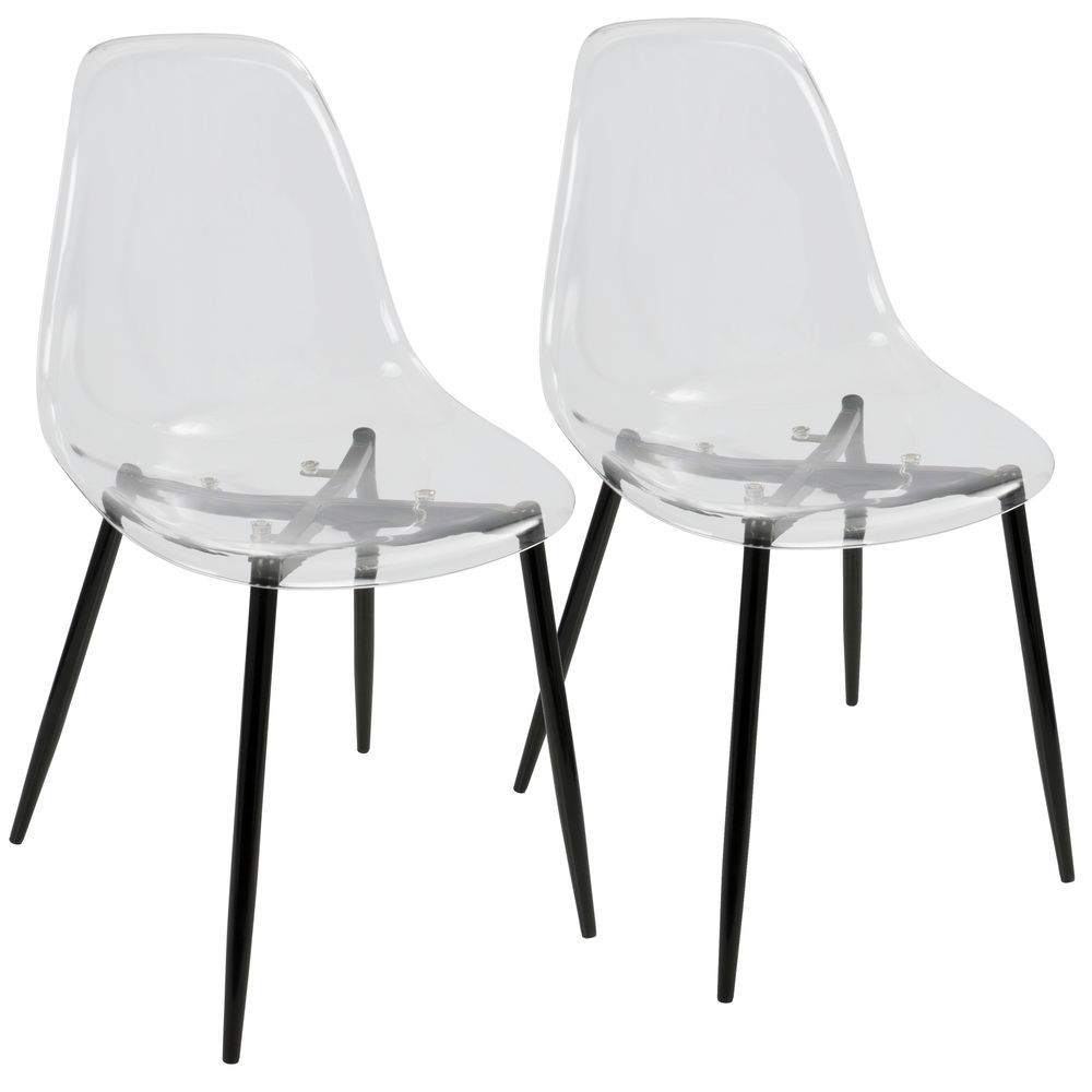 Superb Lumisource Clara Mid Century Modern Dining Chair In Black And Clear By Lumisource Set Of 2 Creativecarmelina Interior Chair Design Creativecarmelinacom