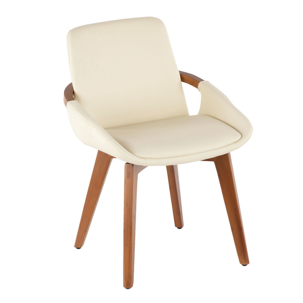 1  sc 1 st  Hubert.com & LumiSource Cosmo Mid-Century Chair in Walnut and Cream Faux ...