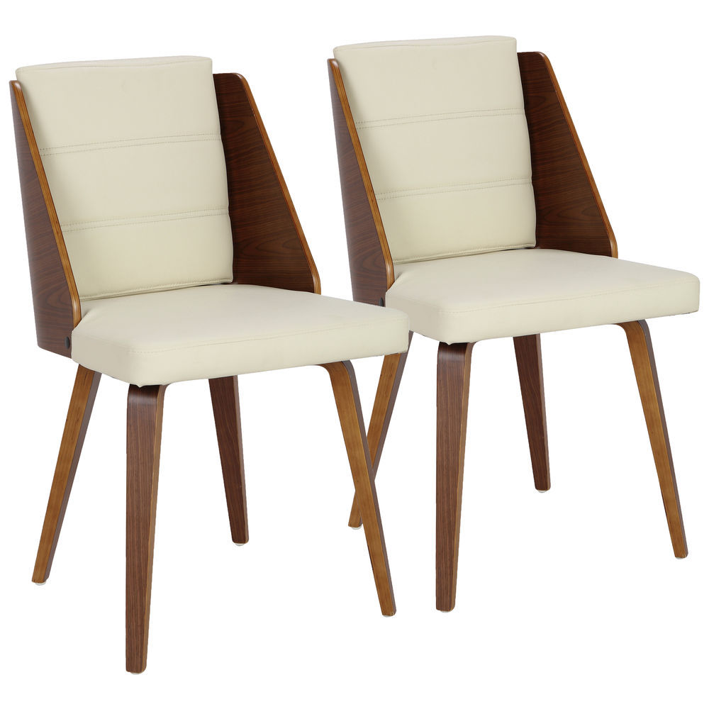 LumiSource Galanti Mid-Century Modern Dining/Accent Chair in Walnut and  Cream Faux Leather by LumiSource - Set of 2