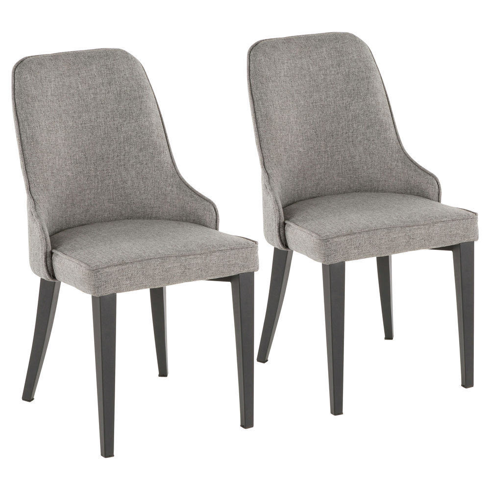 Marvelous Lumisource Nueva Contemporary Accent Dining Chair In Black Metal And Grey Fabric By Lumisource Set Of 2 Uwap Interior Chair Design Uwaporg