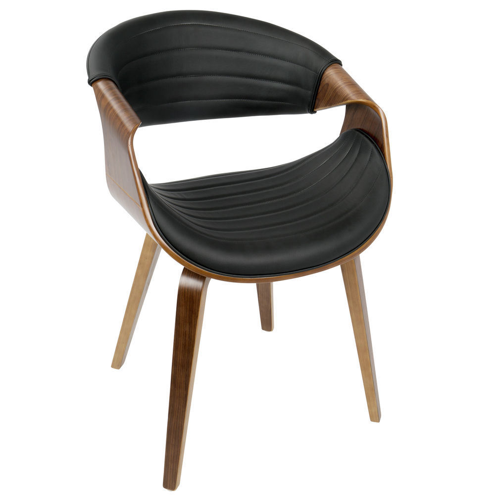 Marvelous Lumisource Symphony Mid Century Modern Dining Accent Chair In Walnut Wood And Black Faux Leather By Lumisource Lamtechconsult Wood Chair Design Ideas Lamtechconsultcom