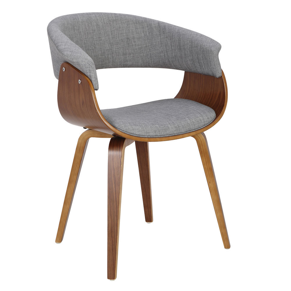 Fantastic Lumisource Vintage Mod Mid Century Modern Dining Accent Chair In Walnut And Light Grey By Lumisource Ncnpc Chair Design For Home Ncnpcorg
