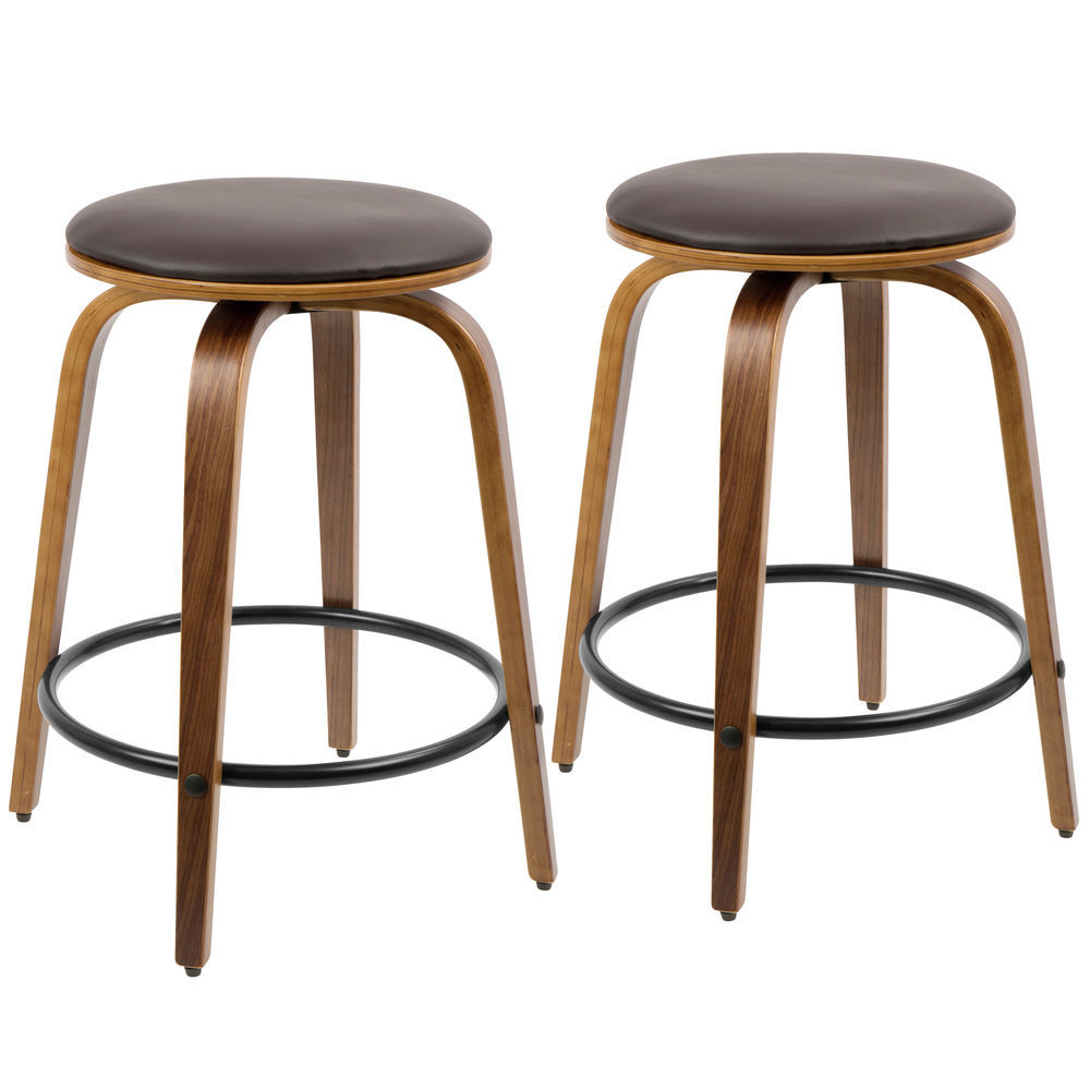 Sensational Lumisource Porto Mid Century Modern Counter Stool In Walnut And Brown Faux Leather With Black Footrest By Lumisource Set Of 2 Squirreltailoven Fun Painted Chair Ideas Images Squirreltailovenorg