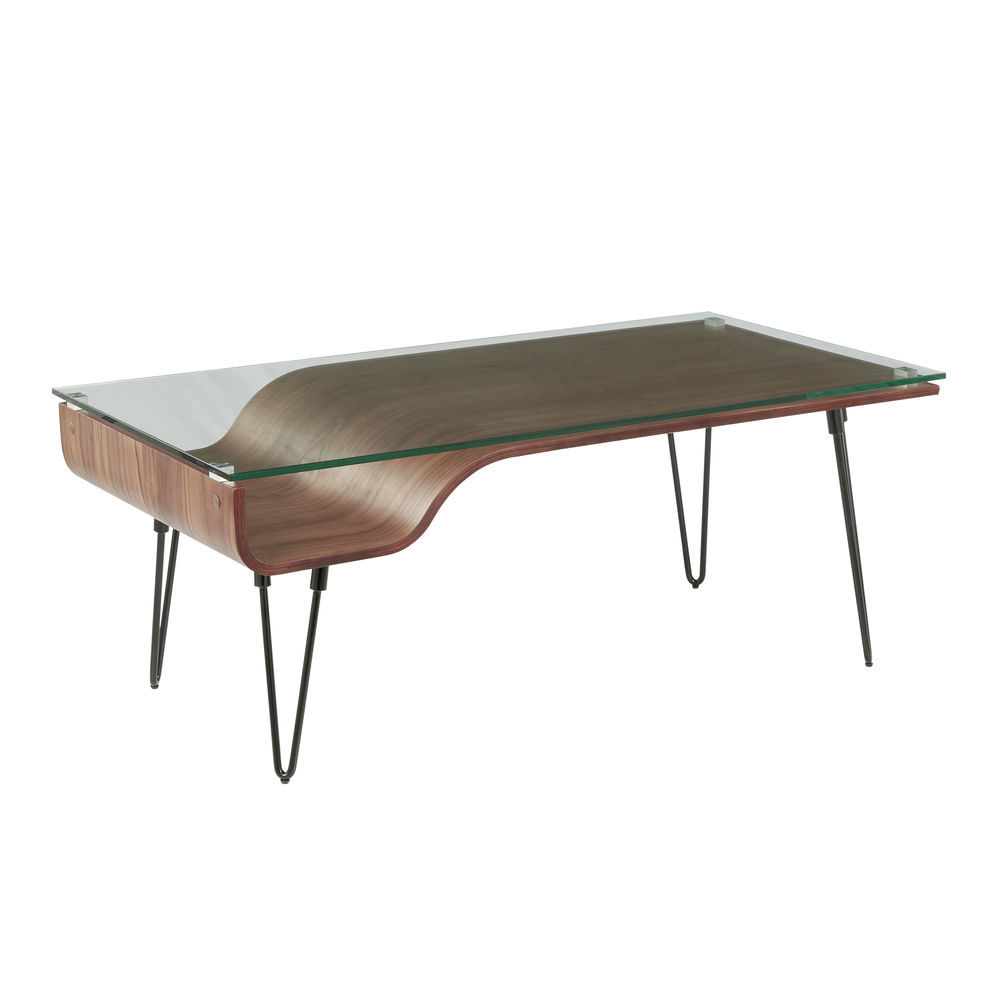 Mid Century Coffee Table.Lumisource Avery Mid Century Modern Coffee Table In Walnut Wood Clear Glass And Black Metal