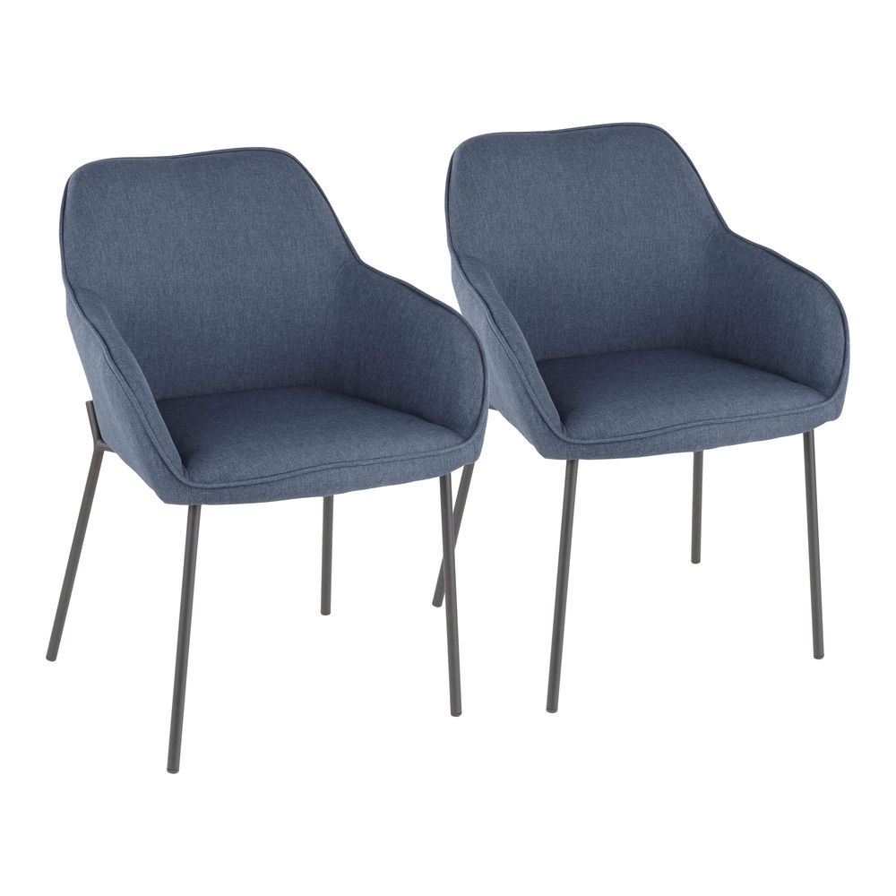 Super Lumisource Daniella Contemporary Dining Chair In Black Metal And Blue Fabric Set Of 2 Machost Co Dining Chair Design Ideas Machostcouk