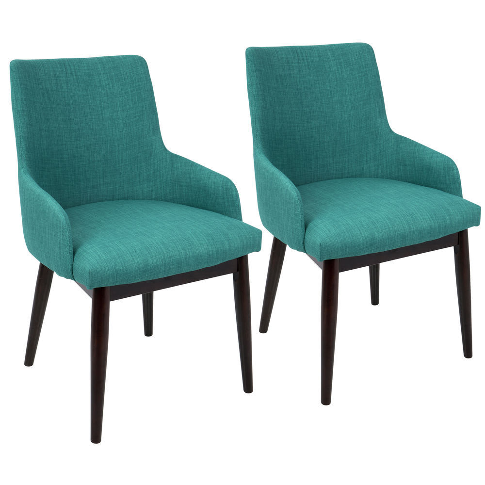 Prime Lumisource Santiago Mid Century Modern Dining Accent Chair In Walnut With Teal Fabric By Lumisource Set Of 2 Lamtechconsult Wood Chair Design Ideas Lamtechconsultcom
