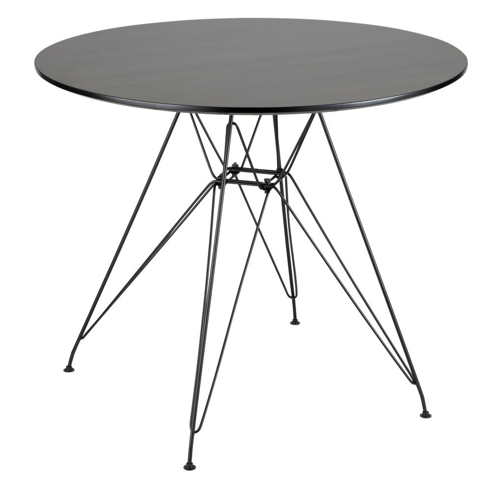 LumiSource Avery Mid-Century Modern Round Dining Table in Black and Walnut  by LumiSource