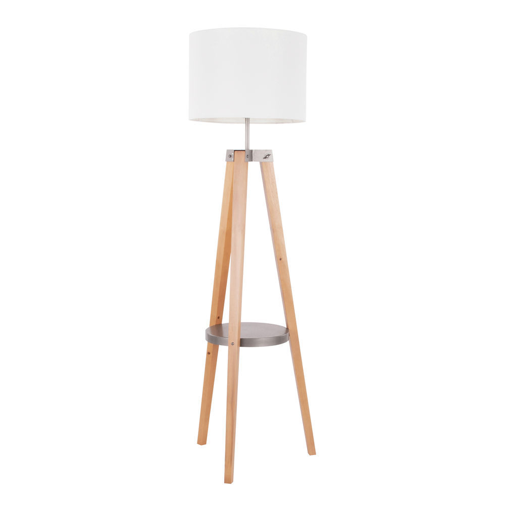 Lumisource Compass Mid Century Modern Floor Lamp With Shelf In Natural Wood And White Linen By Lumisource